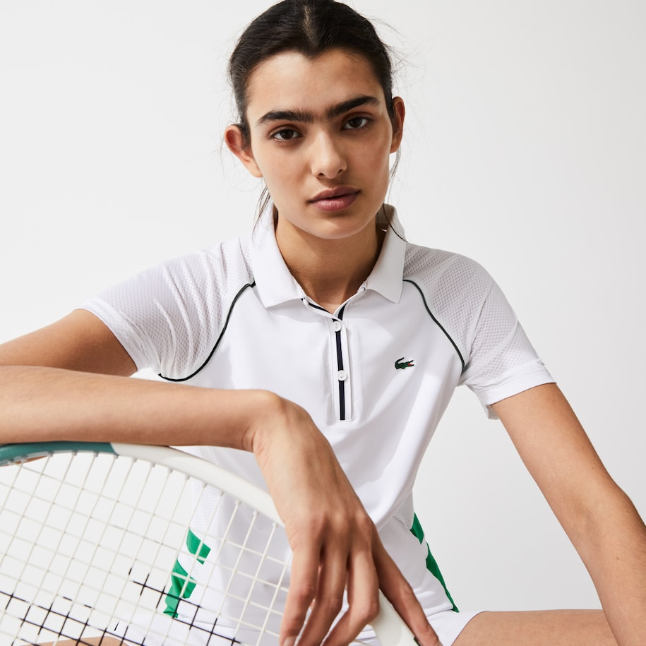 Women's Lacoste SPORT Bimaterial Breathable Stretch Tennis Polo Shirt