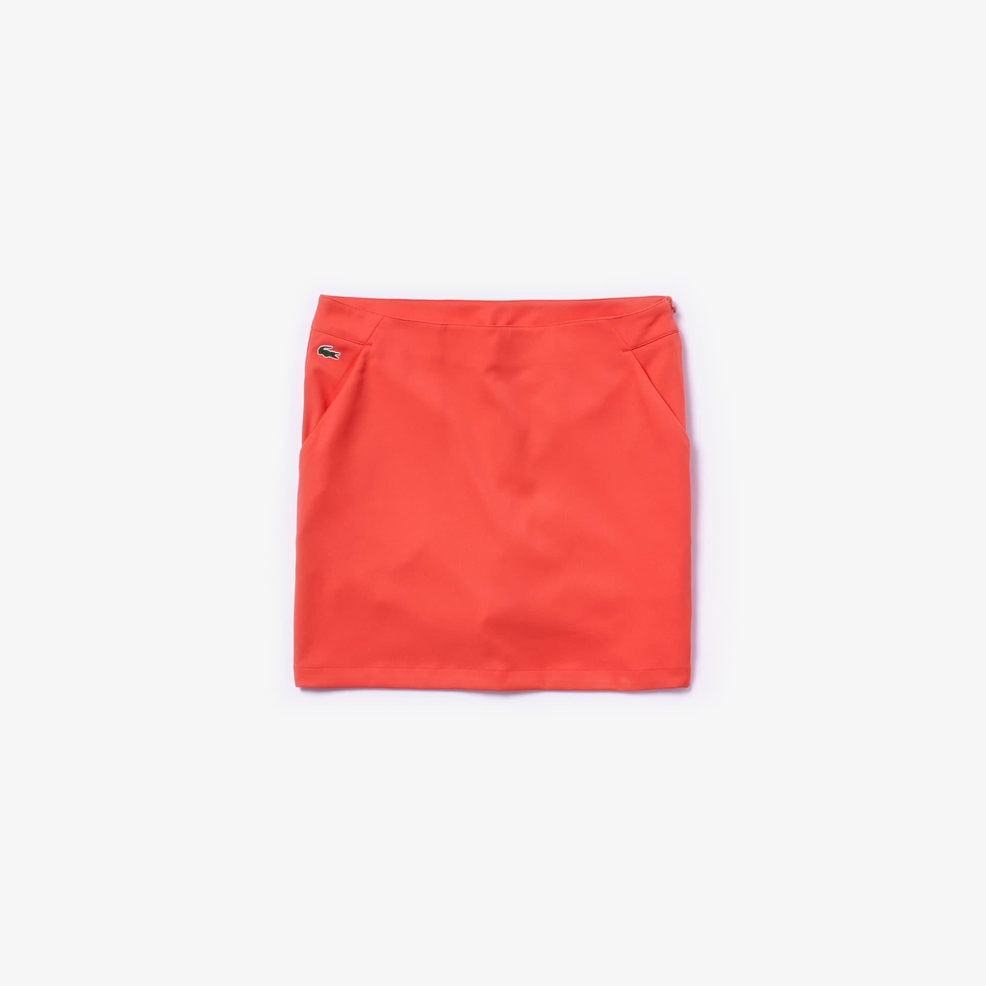 라코스테 Lacoste Womens SPORT Technical Gabardine Golf Skirt,red