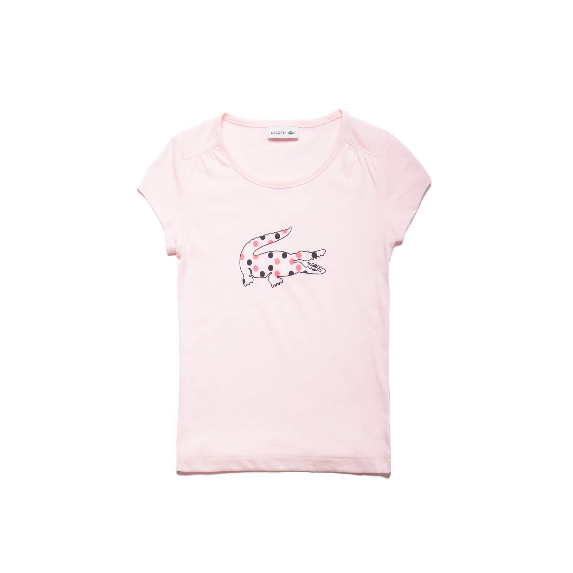 Girls' Crew Neck Polka Dot Crocodile Jersey T-shirt