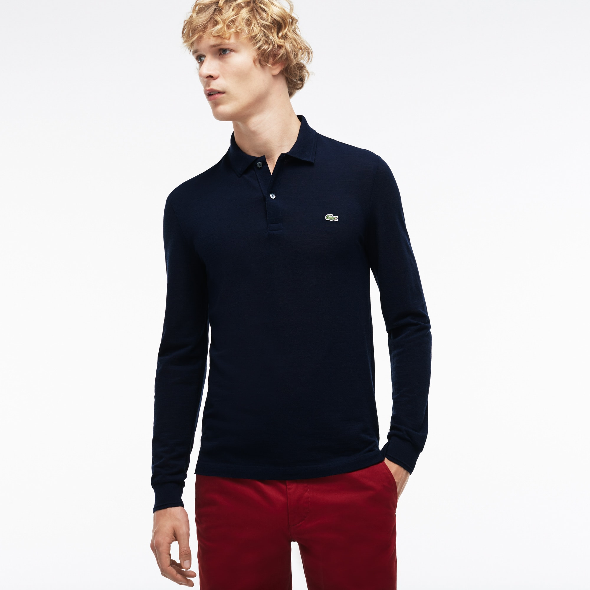Men's Slim Fit Wool Piqué Polo