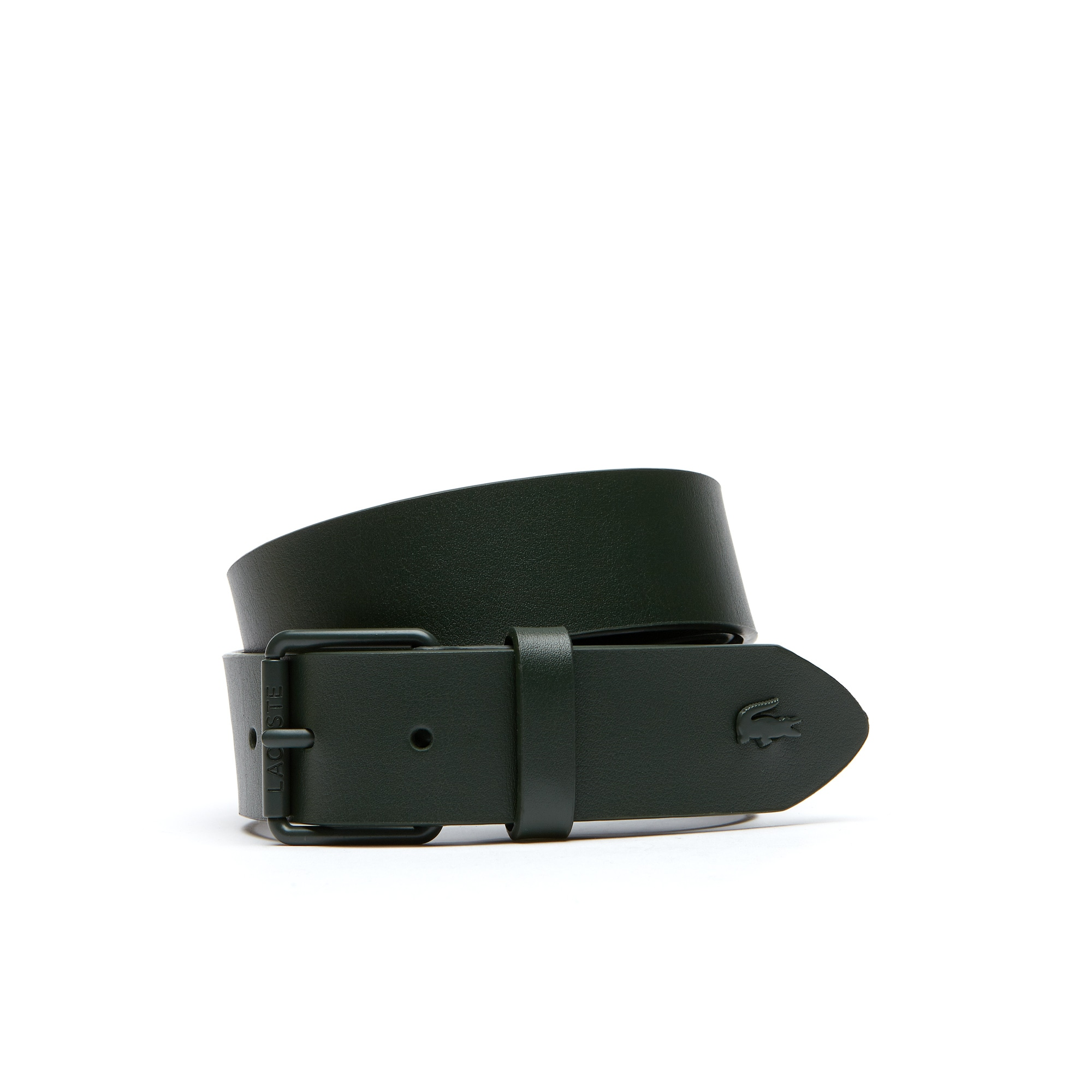 Gift set of a belt in monochrome leather with tongue buckle