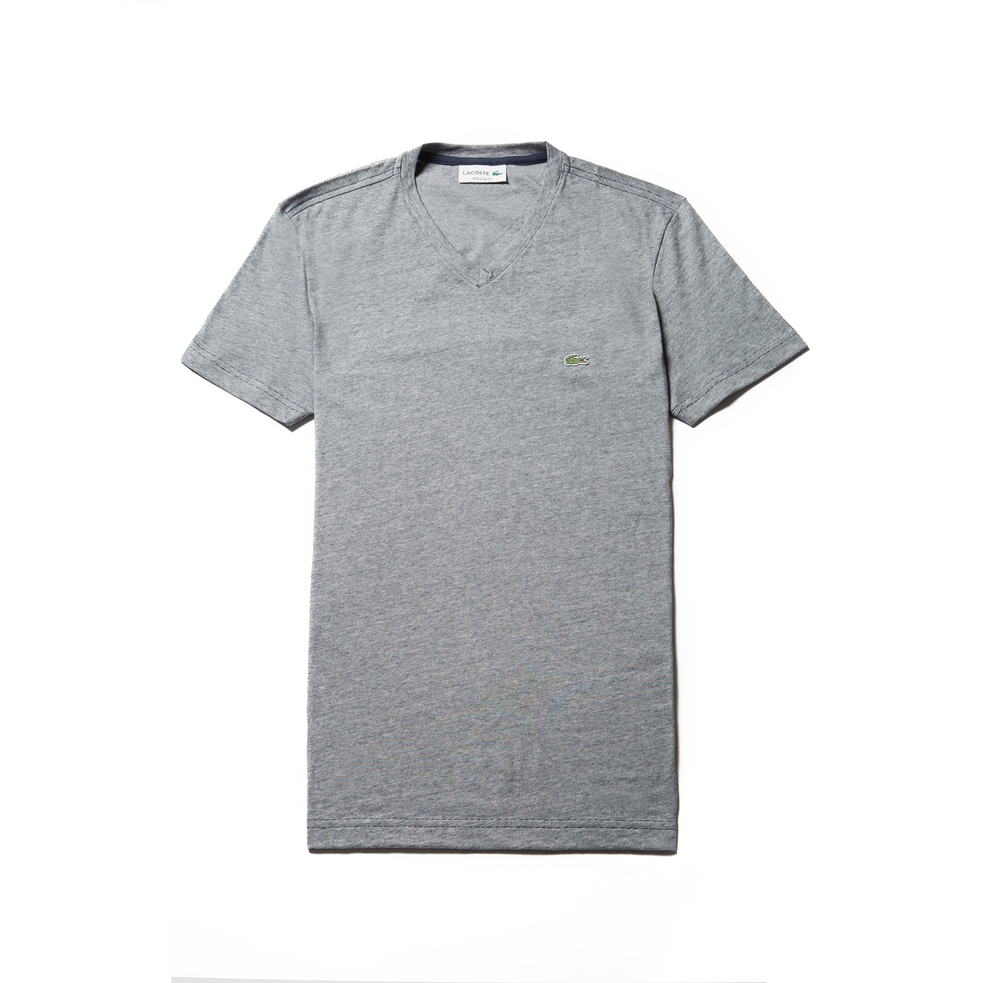 Men's V-neck Thin Striped Cotton Jersey T-shirt