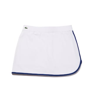 라코스테 우먼 스포츠 테니스 스커트 - 화이트 Lacoste Womens SPORT Contrast Edging Jersey Tennis Skirt,White / Navy Blue