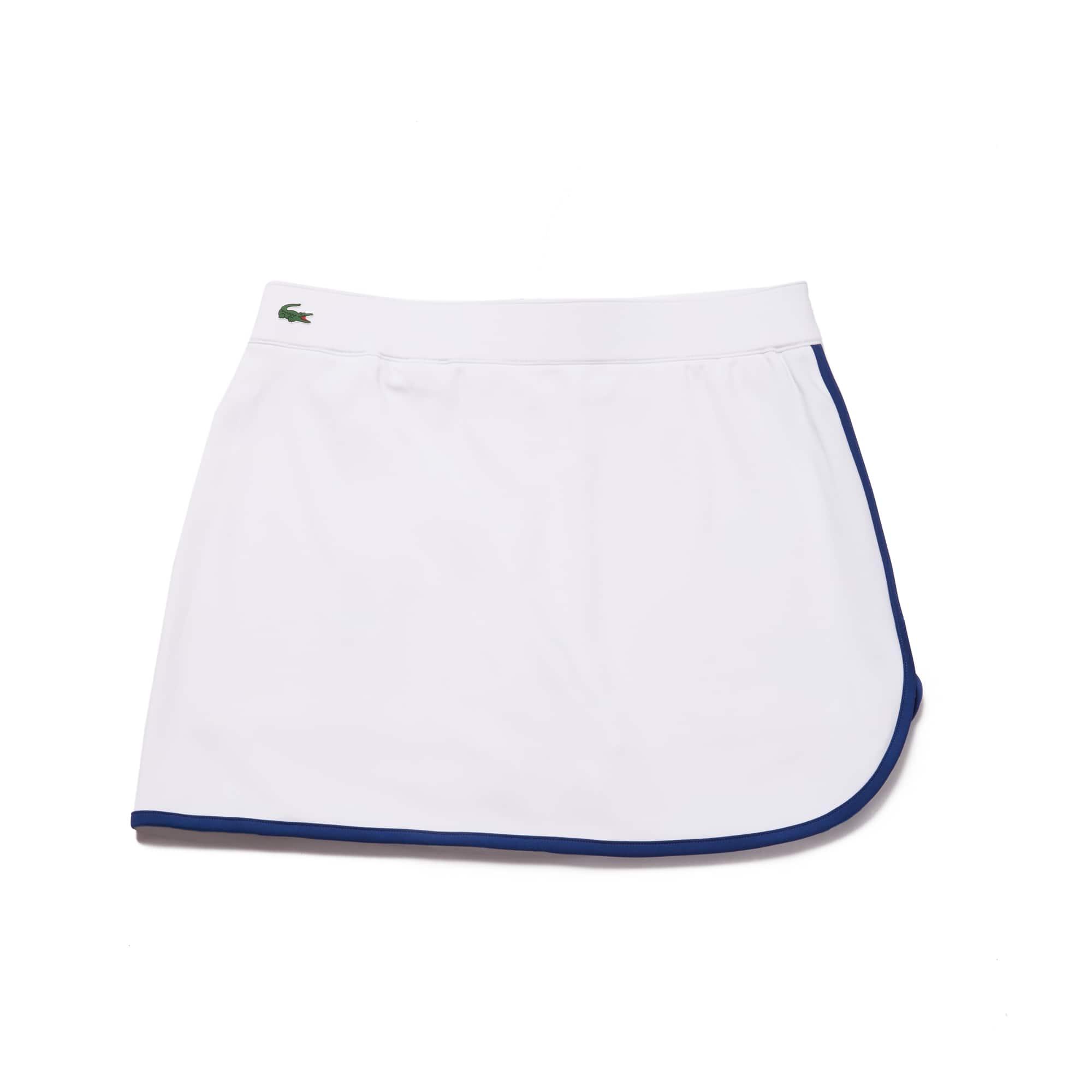 라코스테 Lacoste Womens SPORT Contrast Edging Jersey Tennis Skirt,white / navy blue