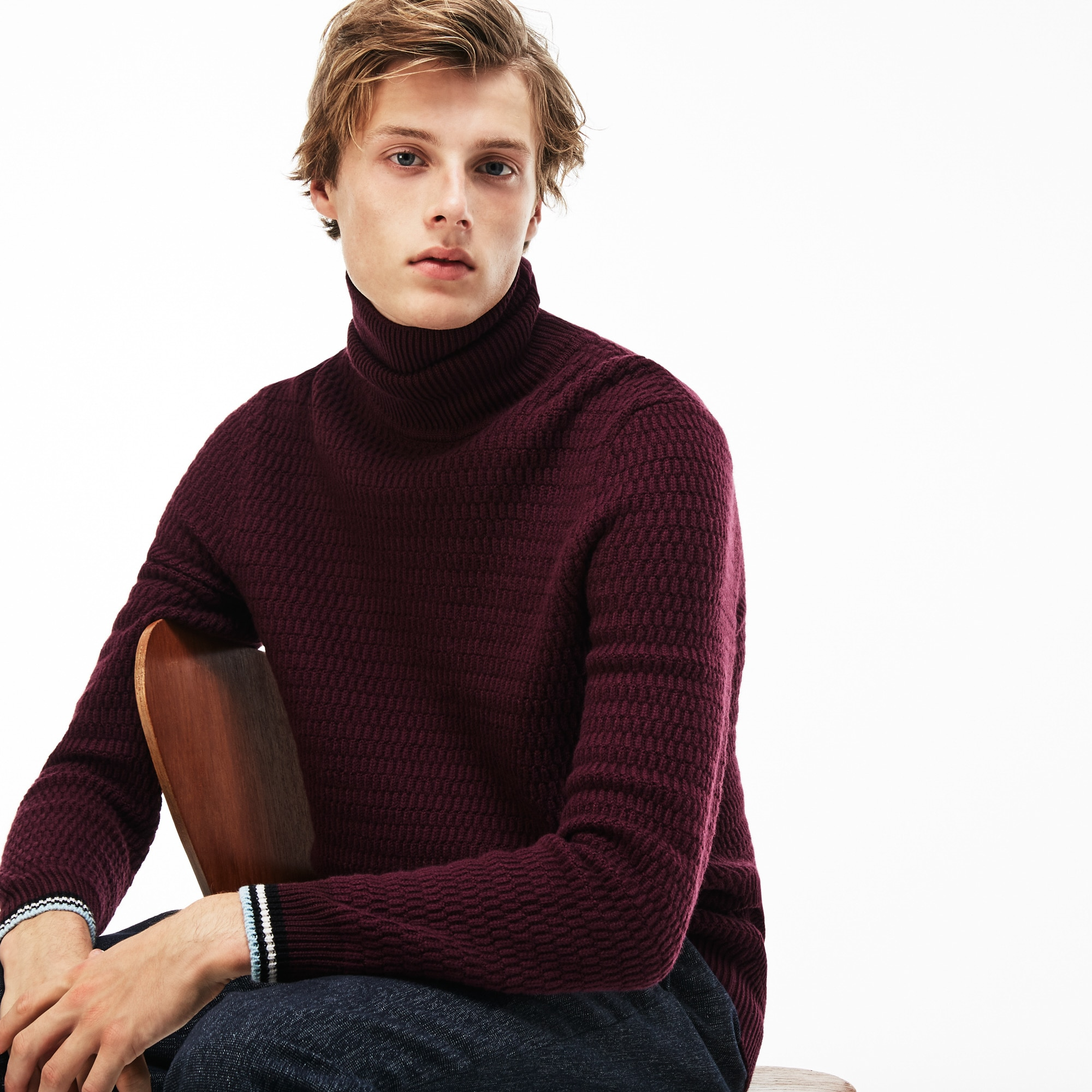 Men's Ribbed Stand-Up Collar Sweater With Striped Accents