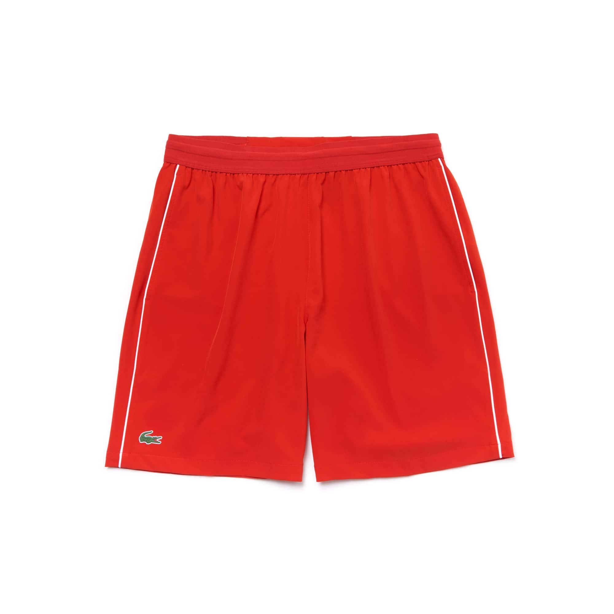 라코스테 스포츠 반바지 Lacoste Mens SPORT NOVAK DJOKOVIC SUPPORT WITH STYLE COLLECTION Piped Stretch Technical Shorts,cochineal/white