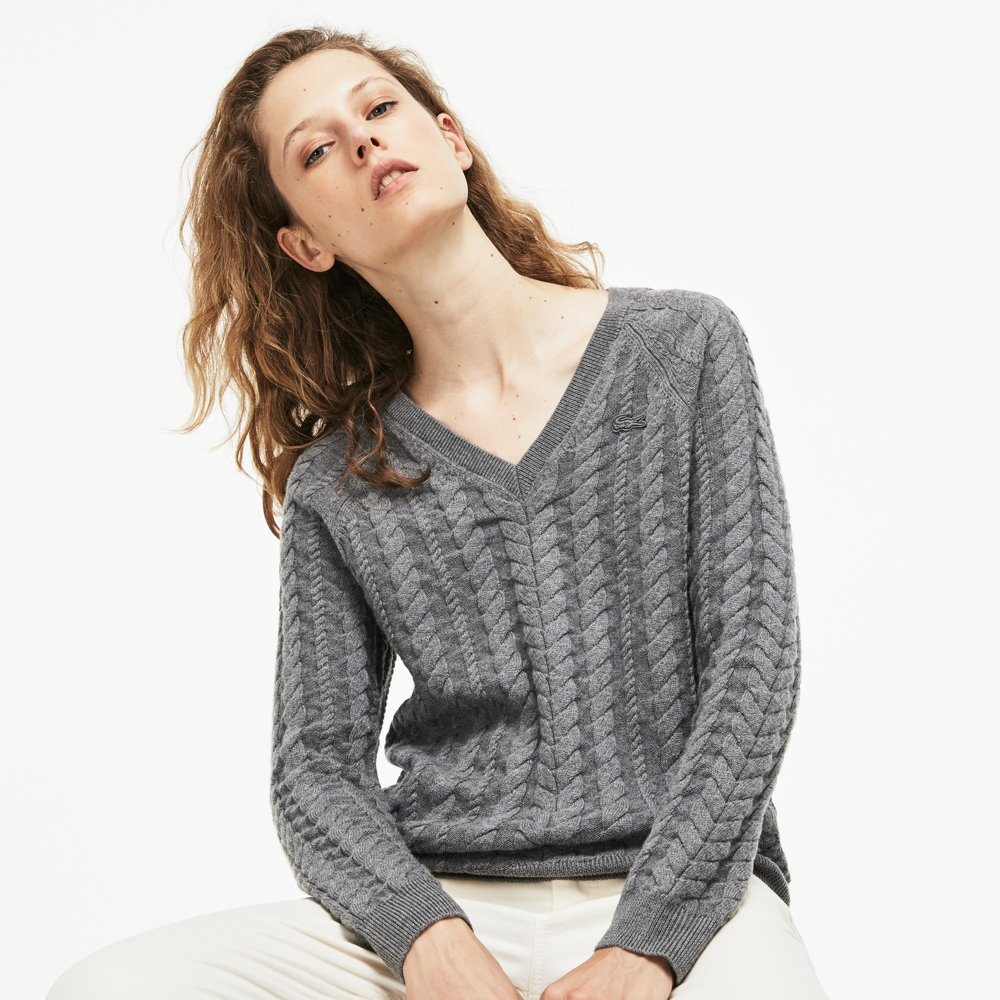 Women's V-neck Cotton And Wool Cable Knit Sweater