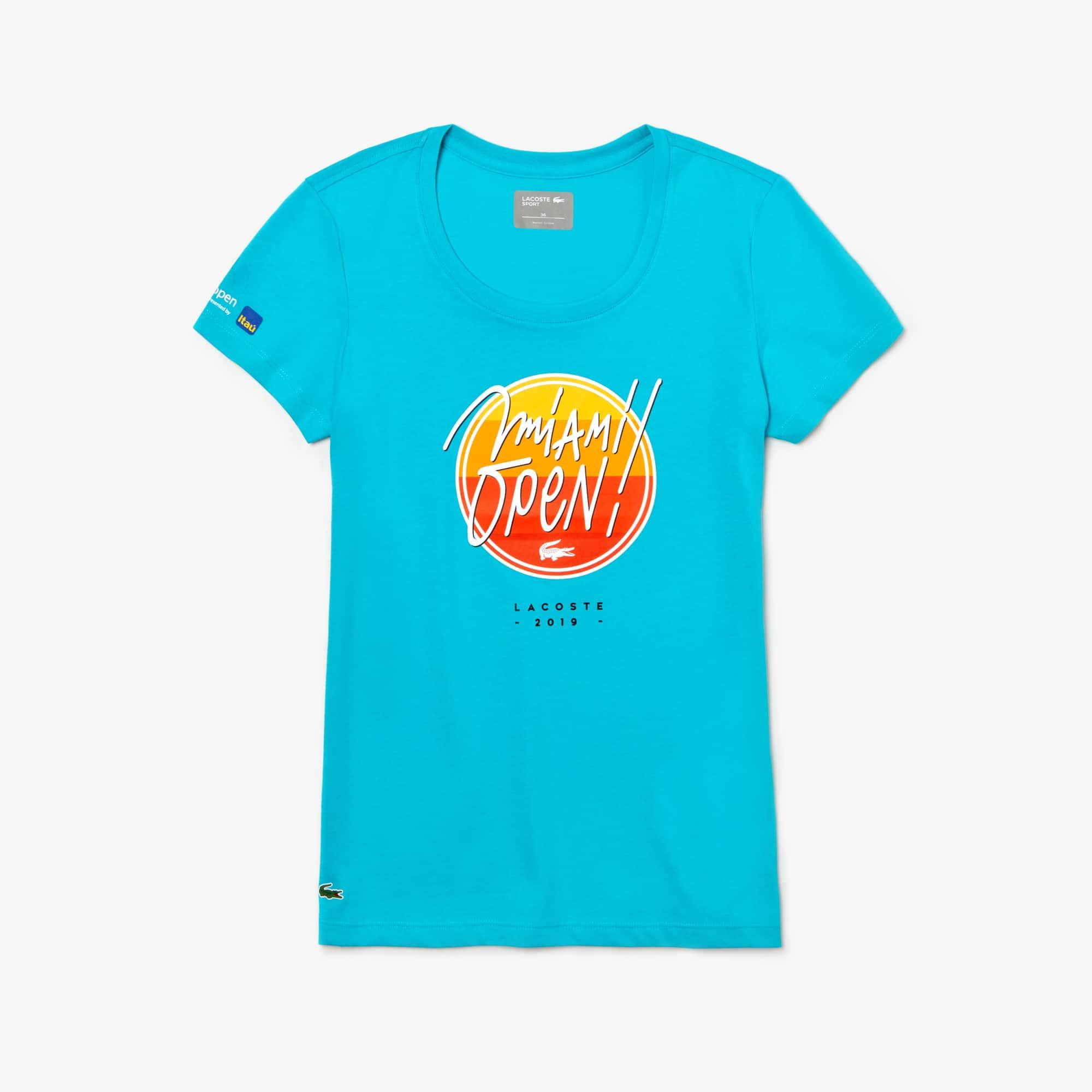 라코스테 우먼 스포츠 테니스 반팔 티셔츠, 마이애미 오픈 에디션 Lacoste Womens SPORT Miami Open Edition T-shirt,Turquoise