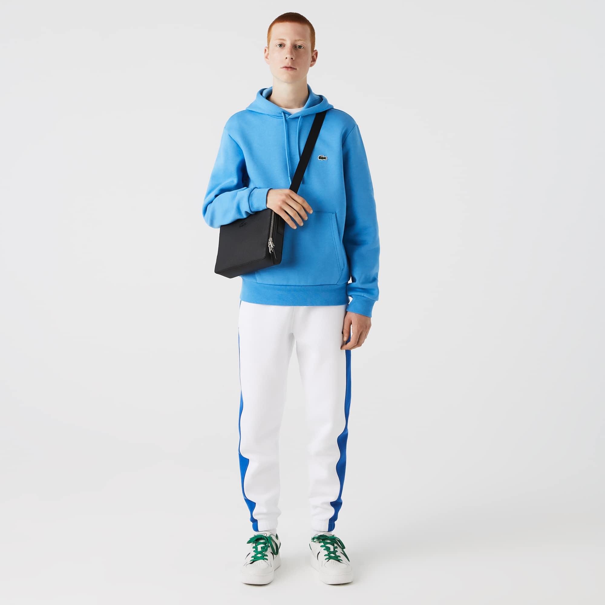 라코스테 Lacoste Mens Chantaco Matte Stitched Leather Zippered Crossbody Bag,Black 000