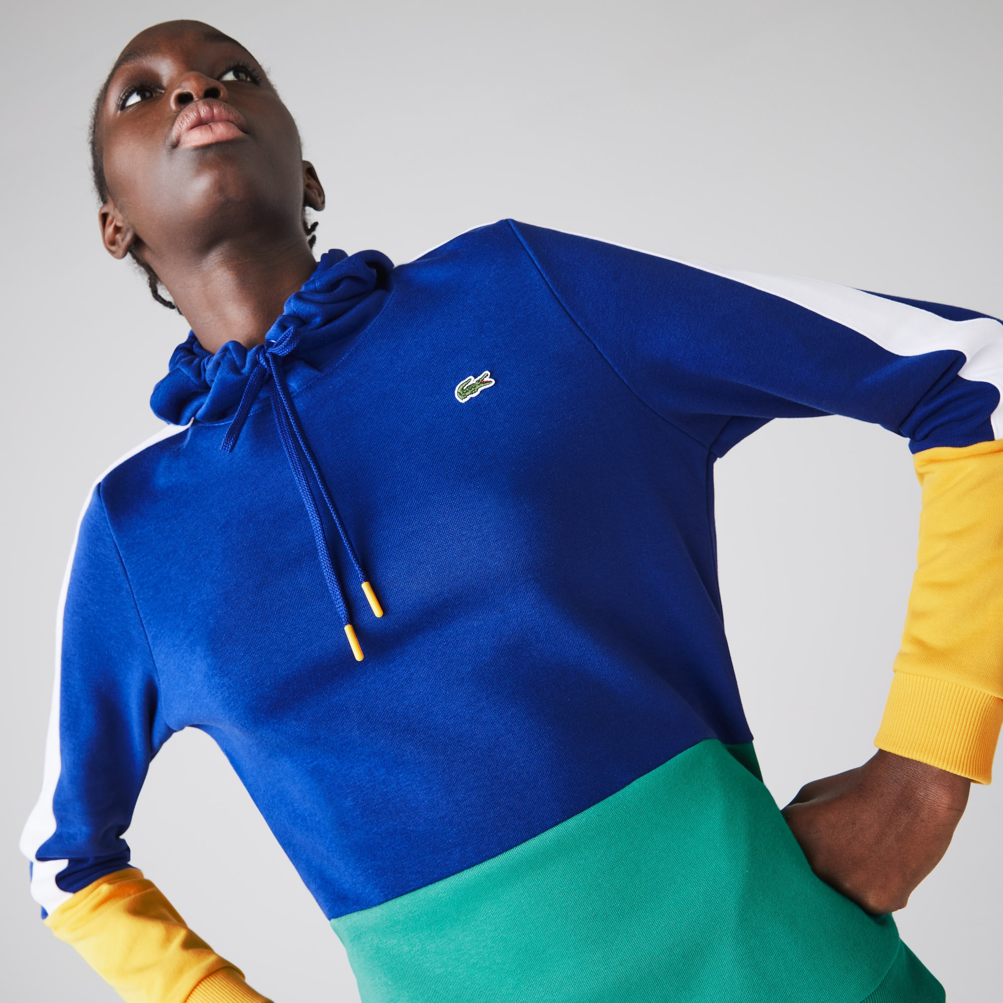 라코스테 스포츠 테니스 컬러블록 후드티 Womens  Lacoste SPORT Hooded Colourblock Fleece Tennis Sweatshirt