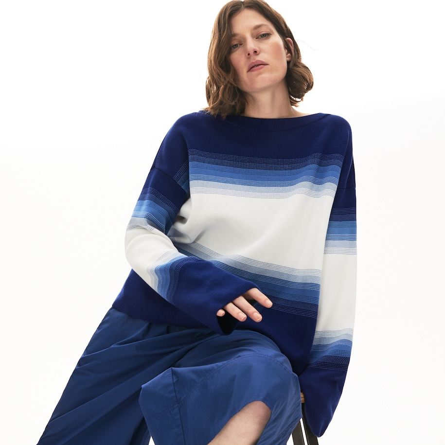 Women's Made in France Organic Loose Fit Ombré-Stripe Sweater