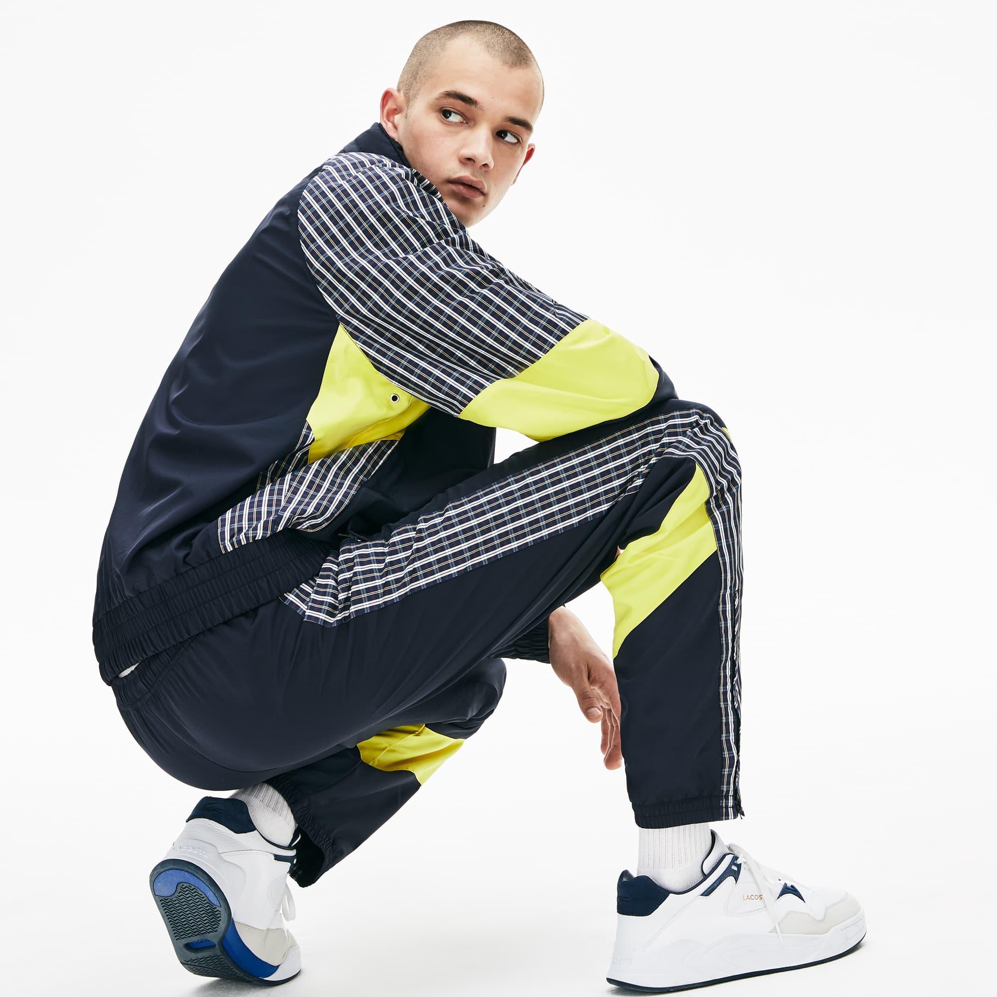 라코스테 라이브 라코스테 Lacoste Mens LIVE Patchwork Trackpants,Blue / Yellow / White 2TF
