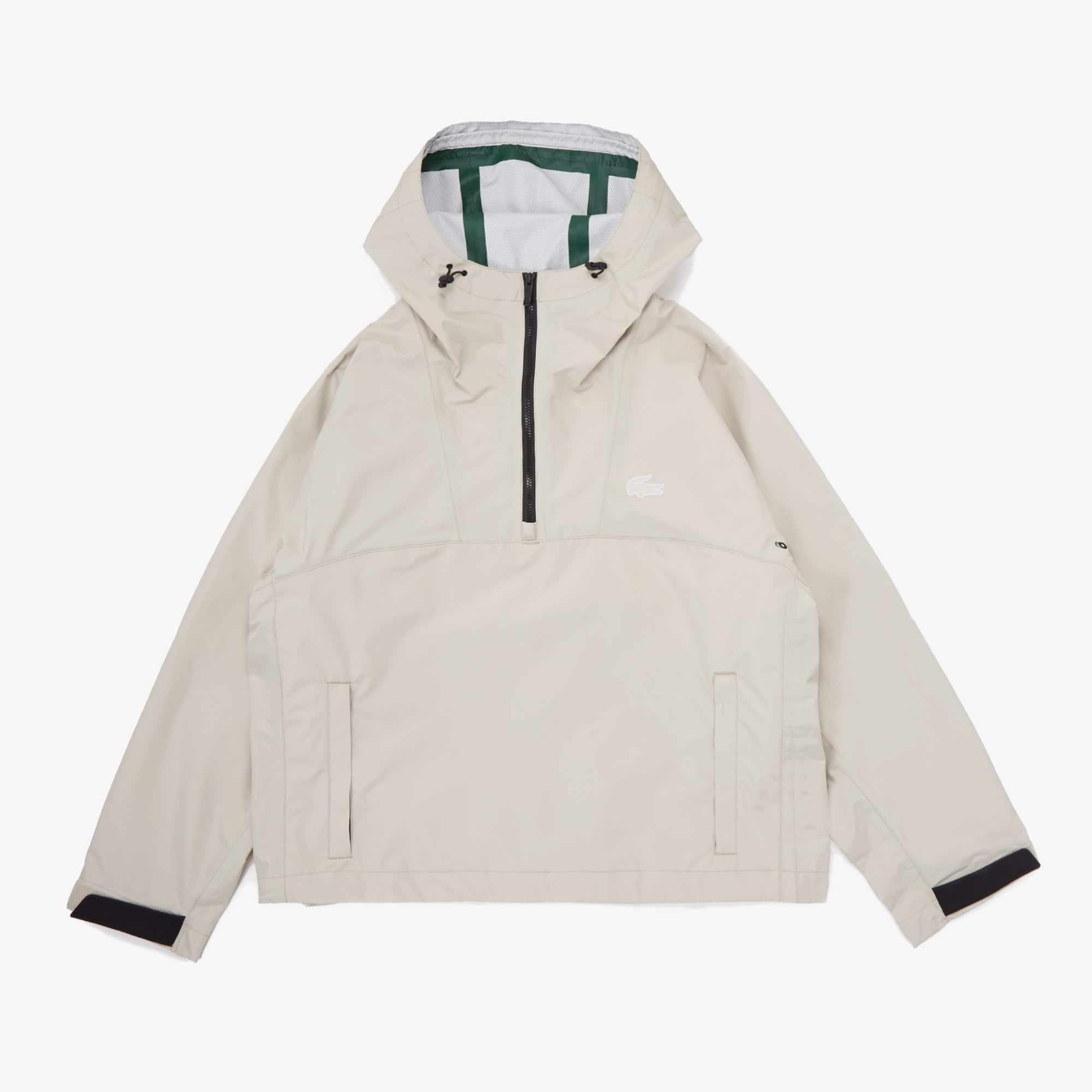 라코스테 우먼 풀오버 자켓 Lacoste Women's Hooded Pullover Jacket,Beige / Black KLF