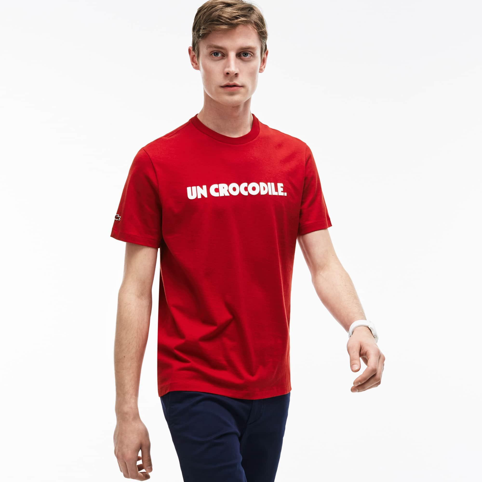 Men's Crew Neck Un Crocodile Lettering Jersey T-Shirt