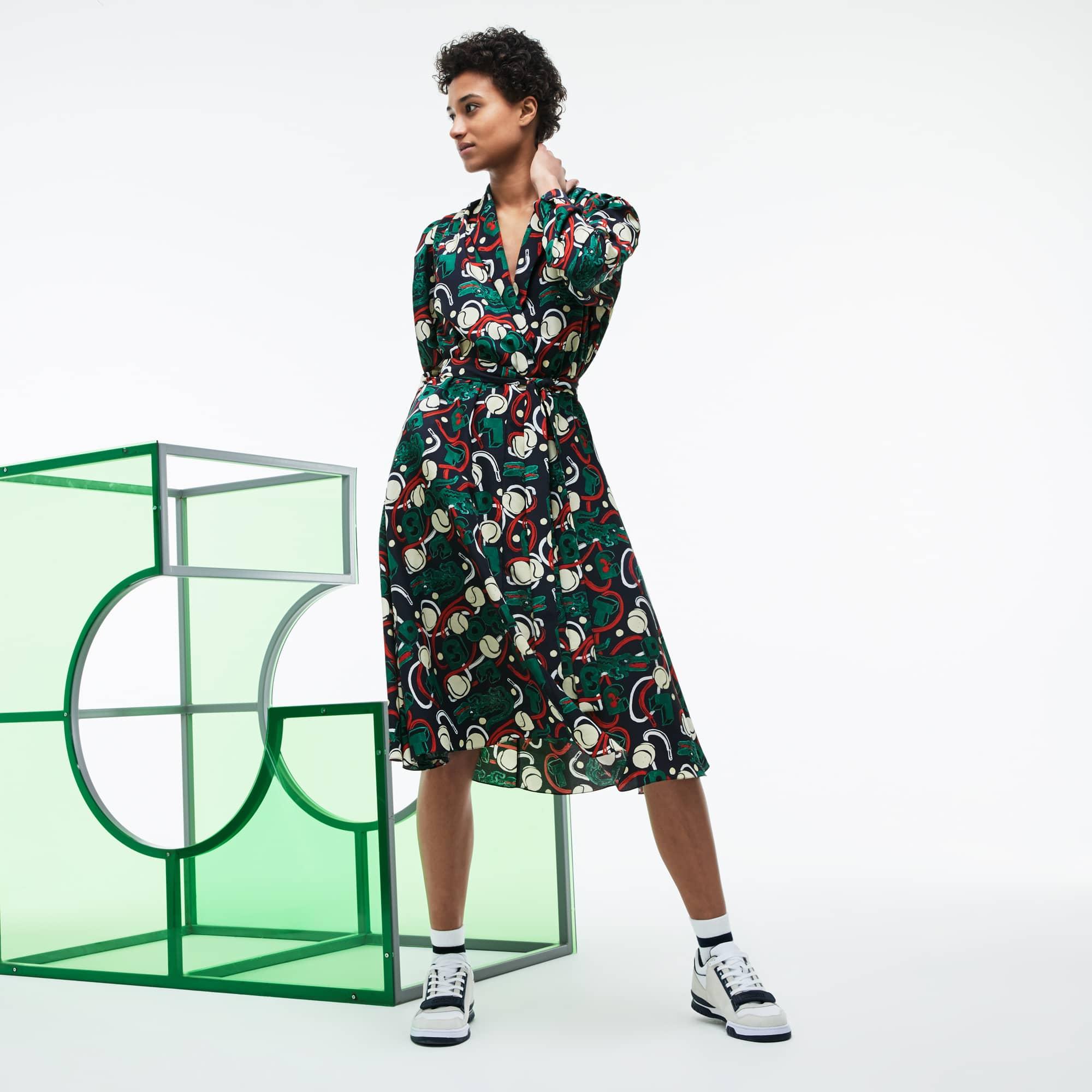 Women's Fashion Show MM Collab Print Wraparound Knit Dress
