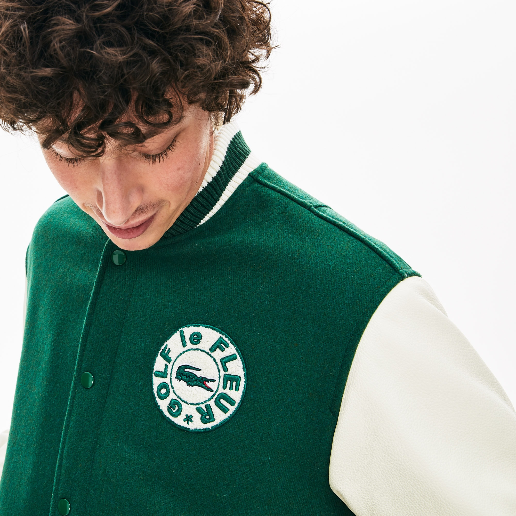Lacoste x GOLF le FLEUR Two Tone Varsity Jacket