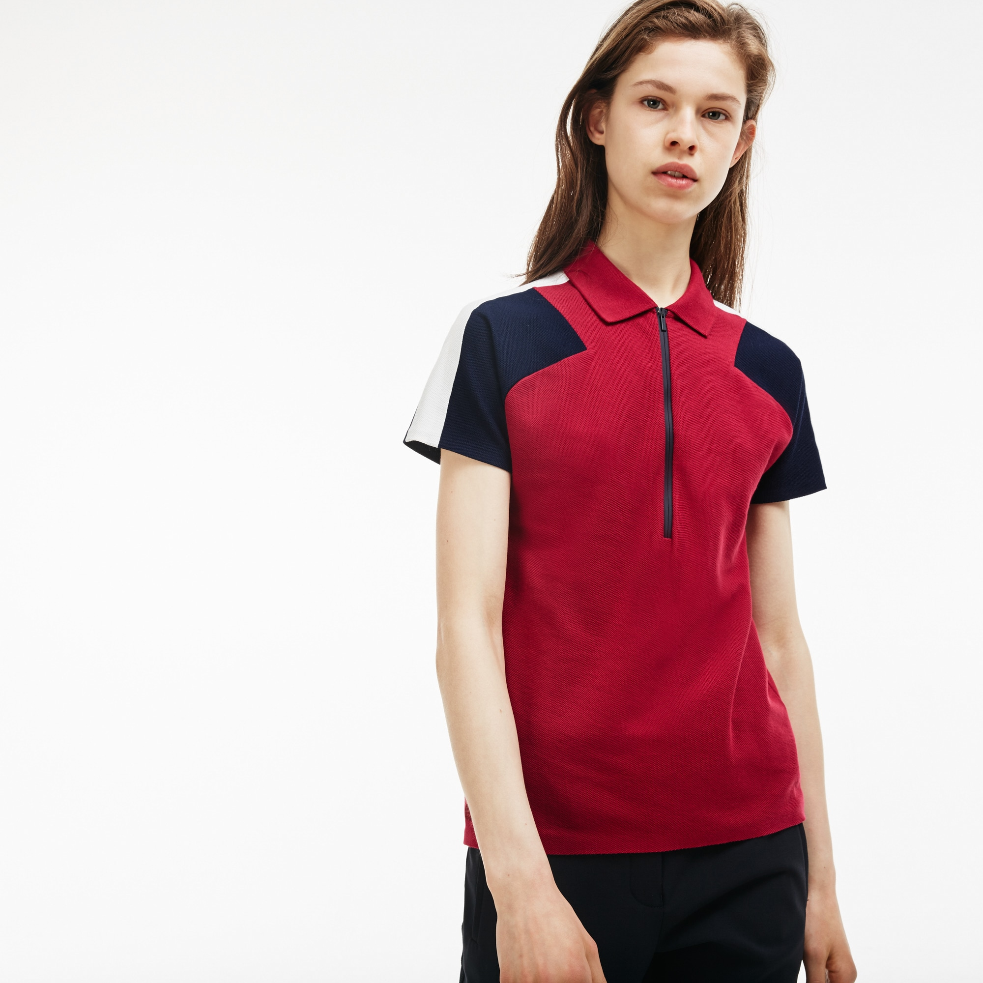 8f5925fcefc82 Women s Made In France Slim Fit Zip Neck Piqué Polo