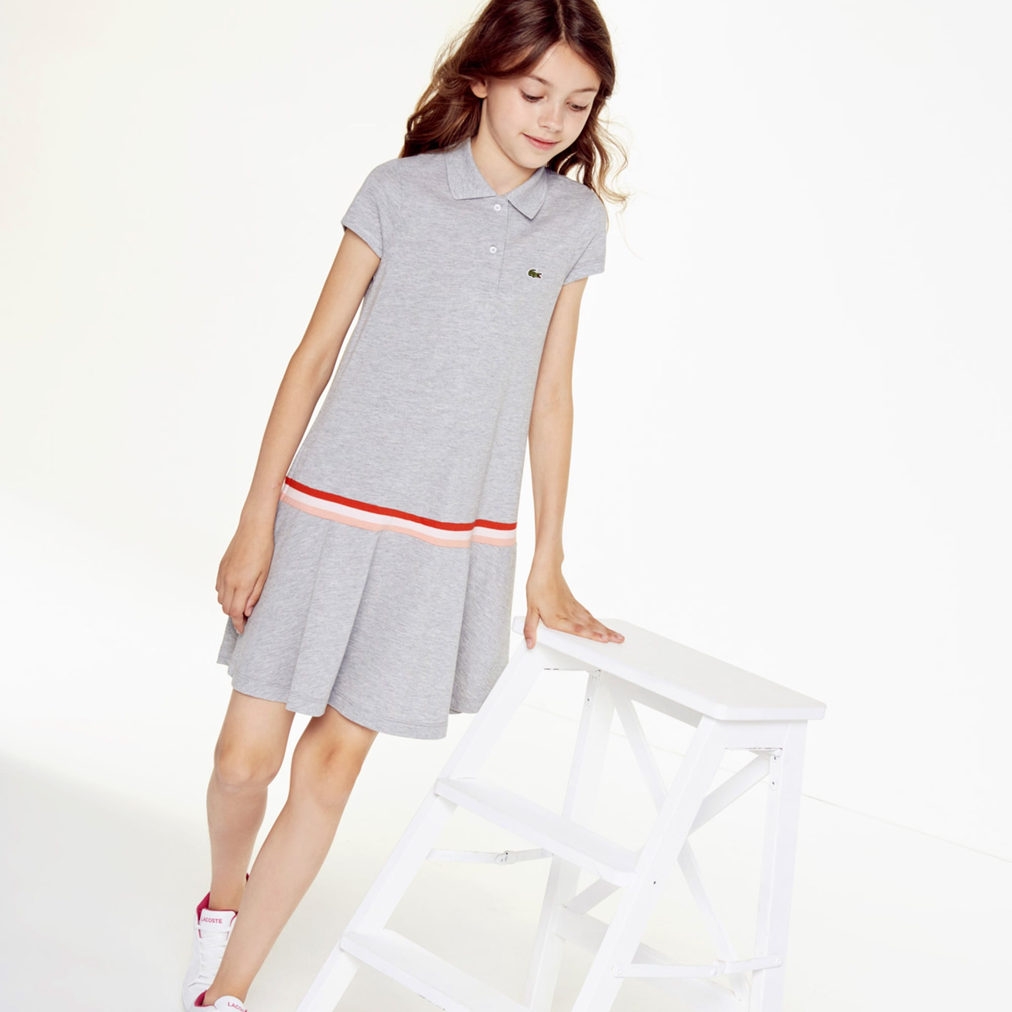 라코스테 Lacoste Girls Pleated Cotton Polo Dress,Grey Chine • CCA