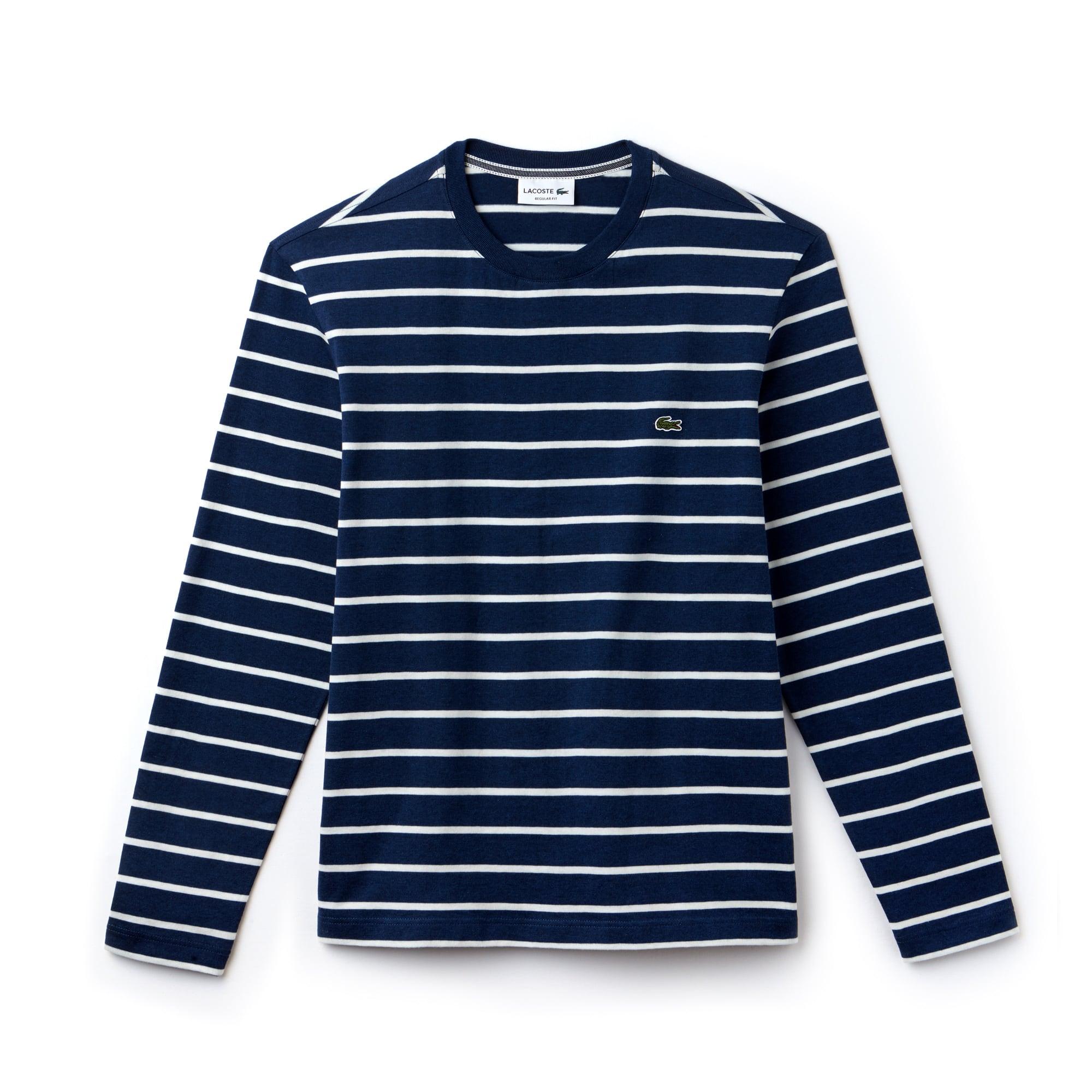 라코스테 긴팔 티셔츠 Lacoste Mens Crew Neck Striped Jersey T-shirt,MATELOT CHINE/FLOUR
