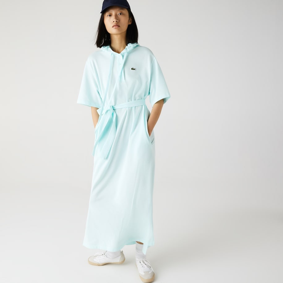 Women's Oversized Hooded Organic Cotton Piqué Polo Dress