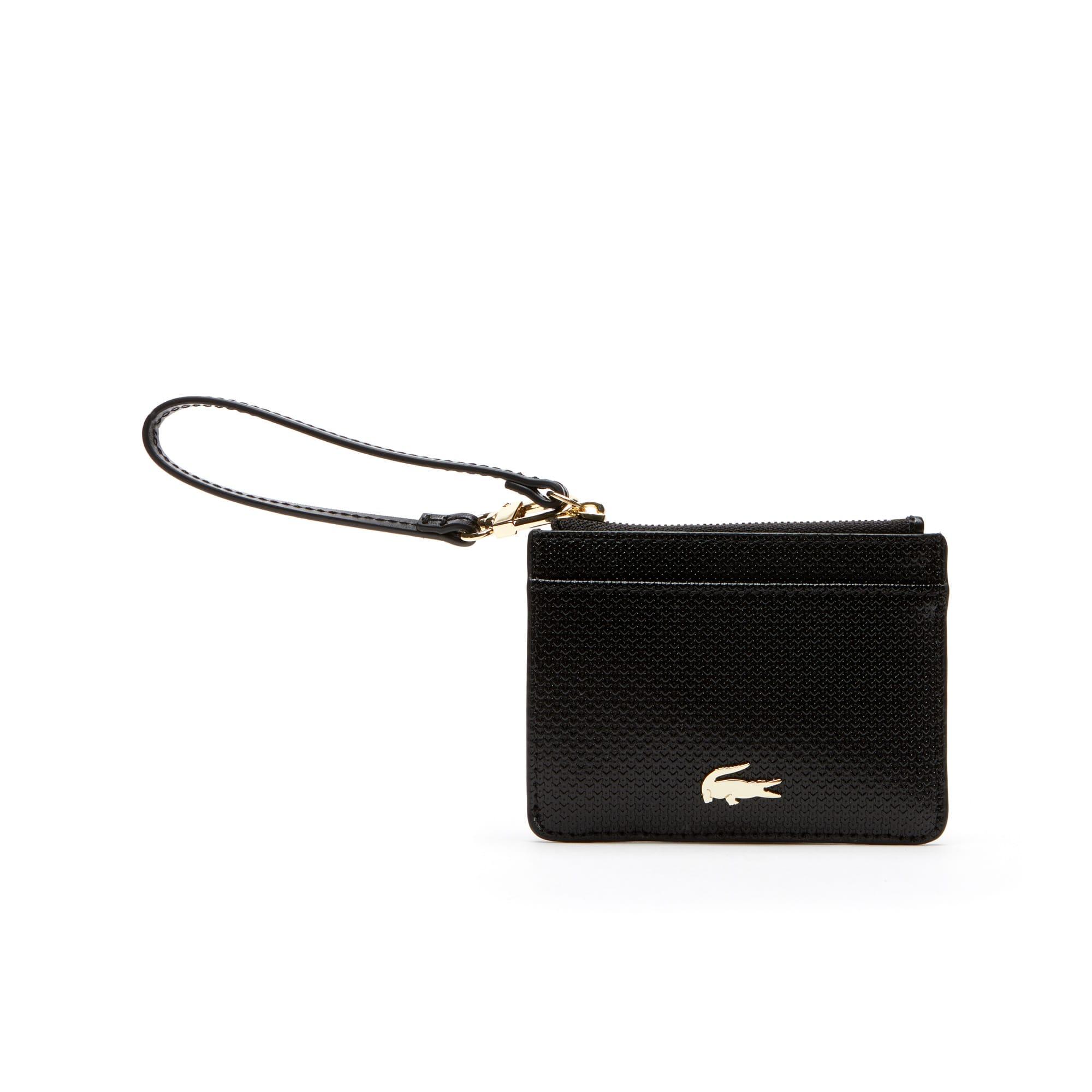 라코스테 카드 지갑 Lacoste Womens Chantaco Bicolor Pique Leather Card Holder,black