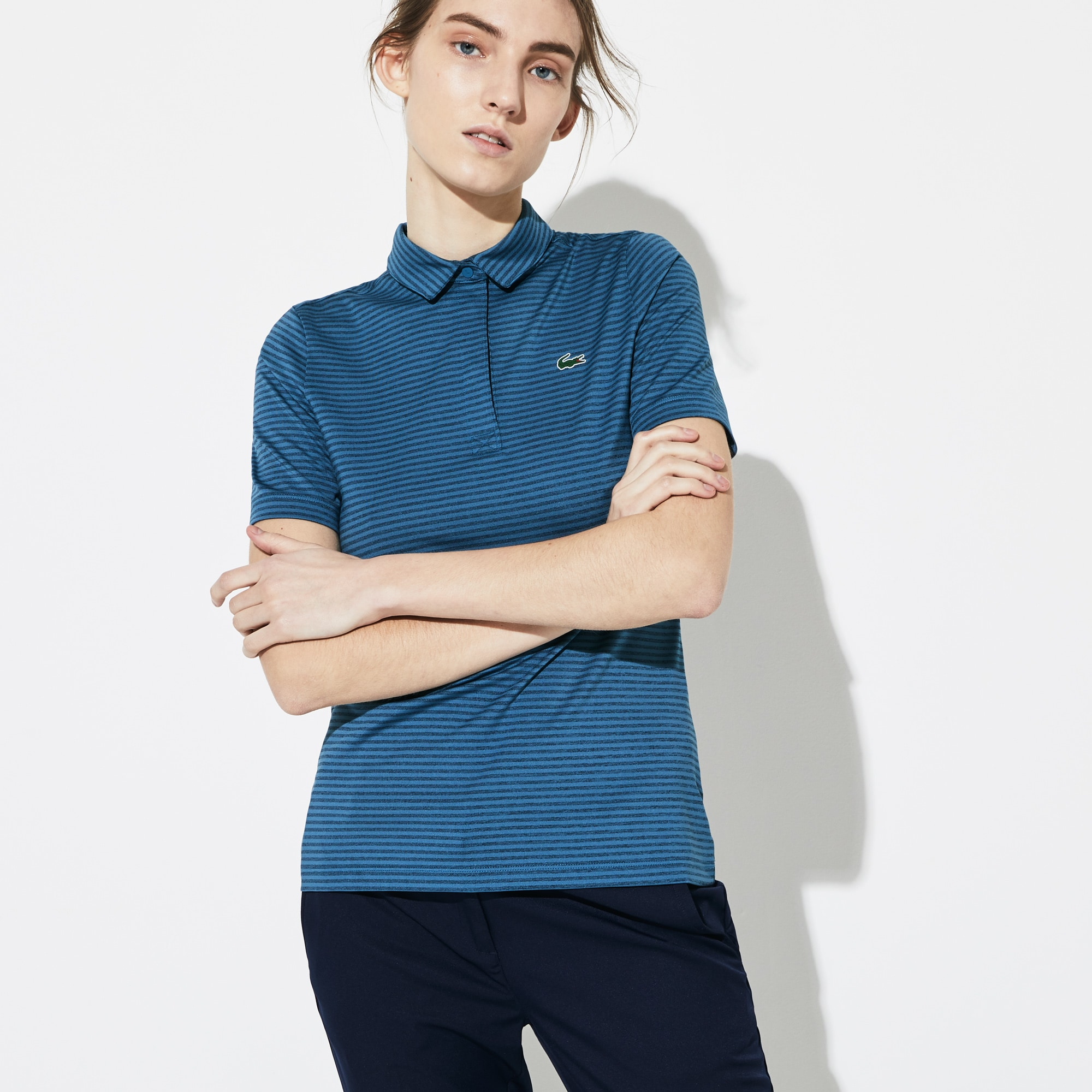 Women's SPORT Snap Neck Striped Technical Golf Polo