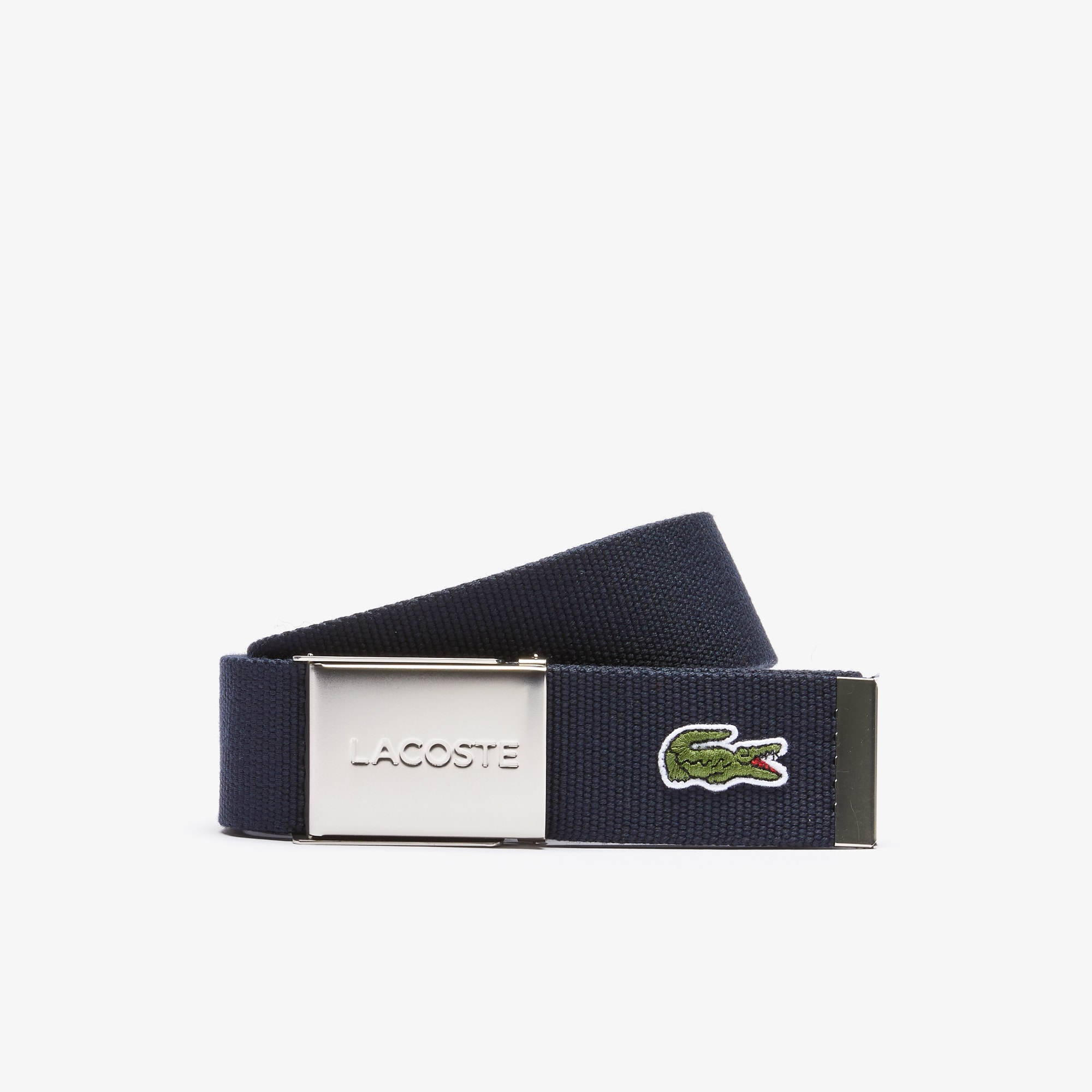 라코스테 벨트 Mens Made in France Edition Lacoste Engraved Buckle Woven Belt,navy blue