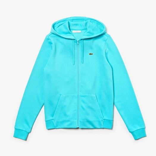 라코스테 우먼 스포츠 테니스 스웻셔츠 Lacoste Womens SPORT Tennis Hooded Zippered Fleece Sweatshirt,Turquoise / Turquoise - 1ND