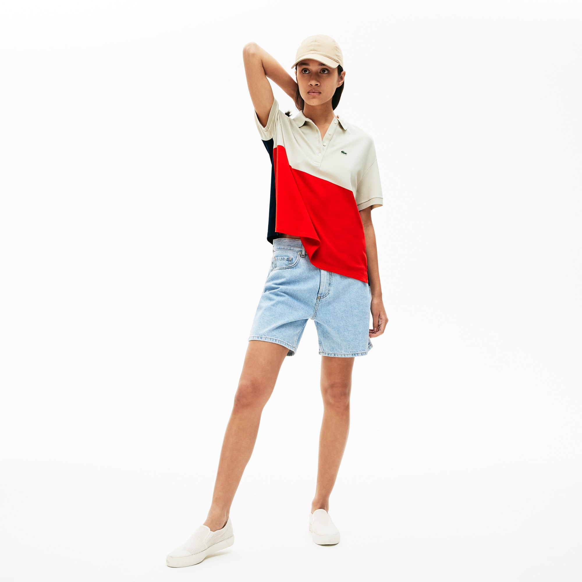 라코스테 우먼 폴로셔츠 (릴렉스 핏) Lacoste Womens Relaxed-Fit Lightweight Color-Block Pique Polo,Red / Beige / Navy Blue