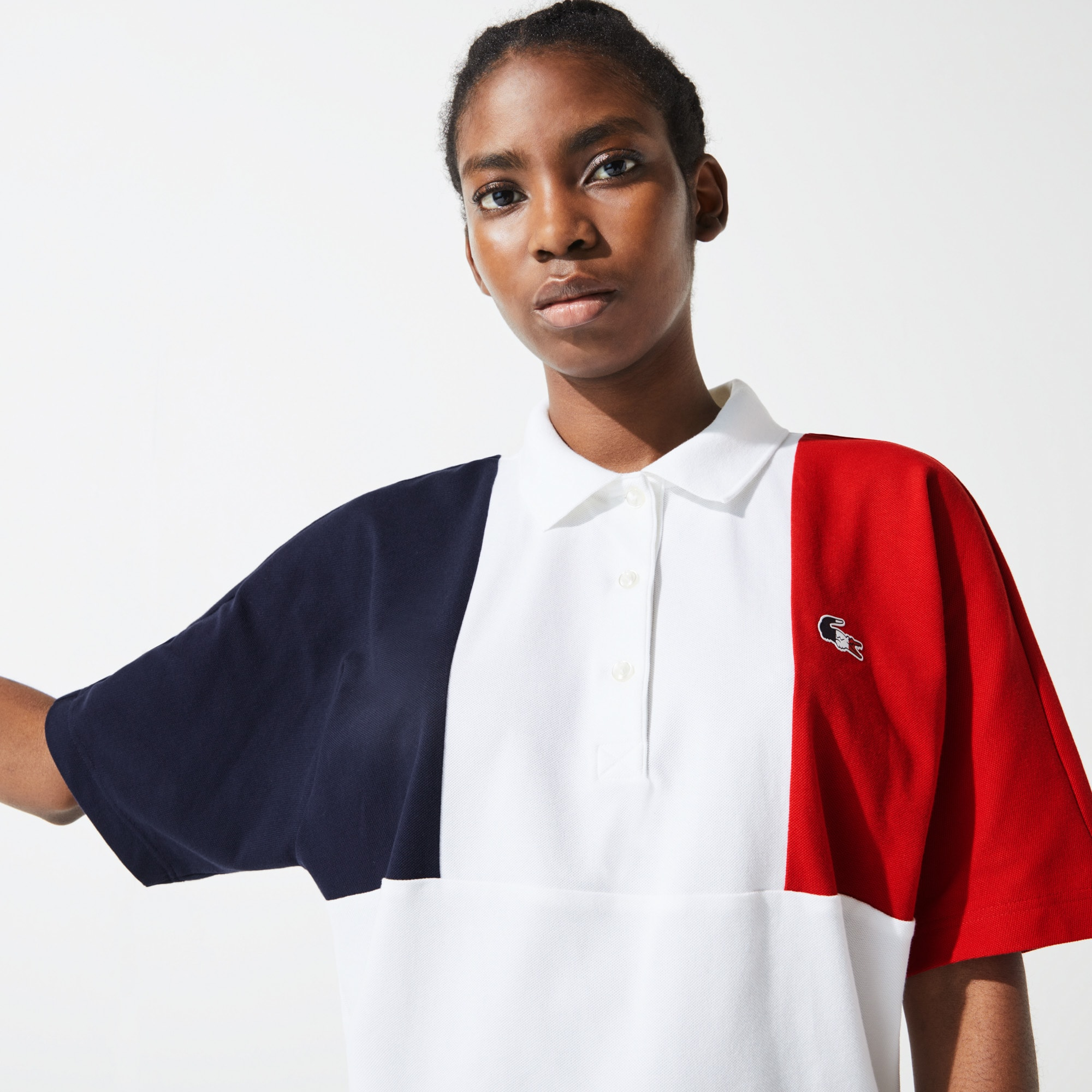 Lacoste Womens SPORT French Sporting Spirit Edition Tricolour Cotton Polo Shirt