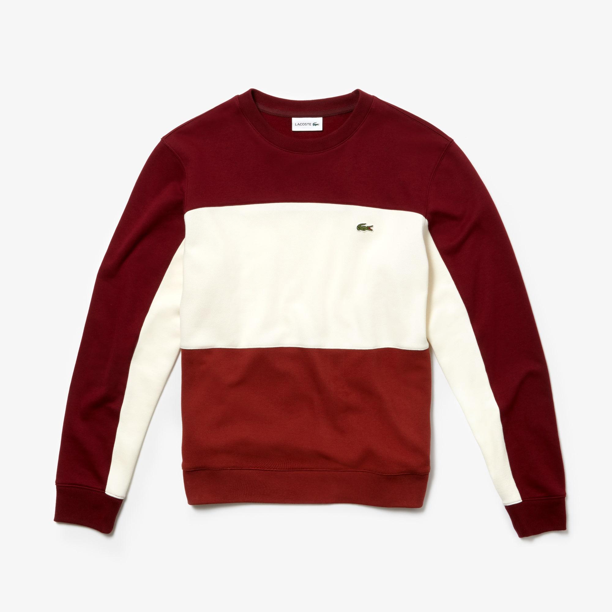 라코스테 Lacoste Mens Crew Neck Colorblock Pique Fleece Sweatshirt,brown / white / bordeaux
