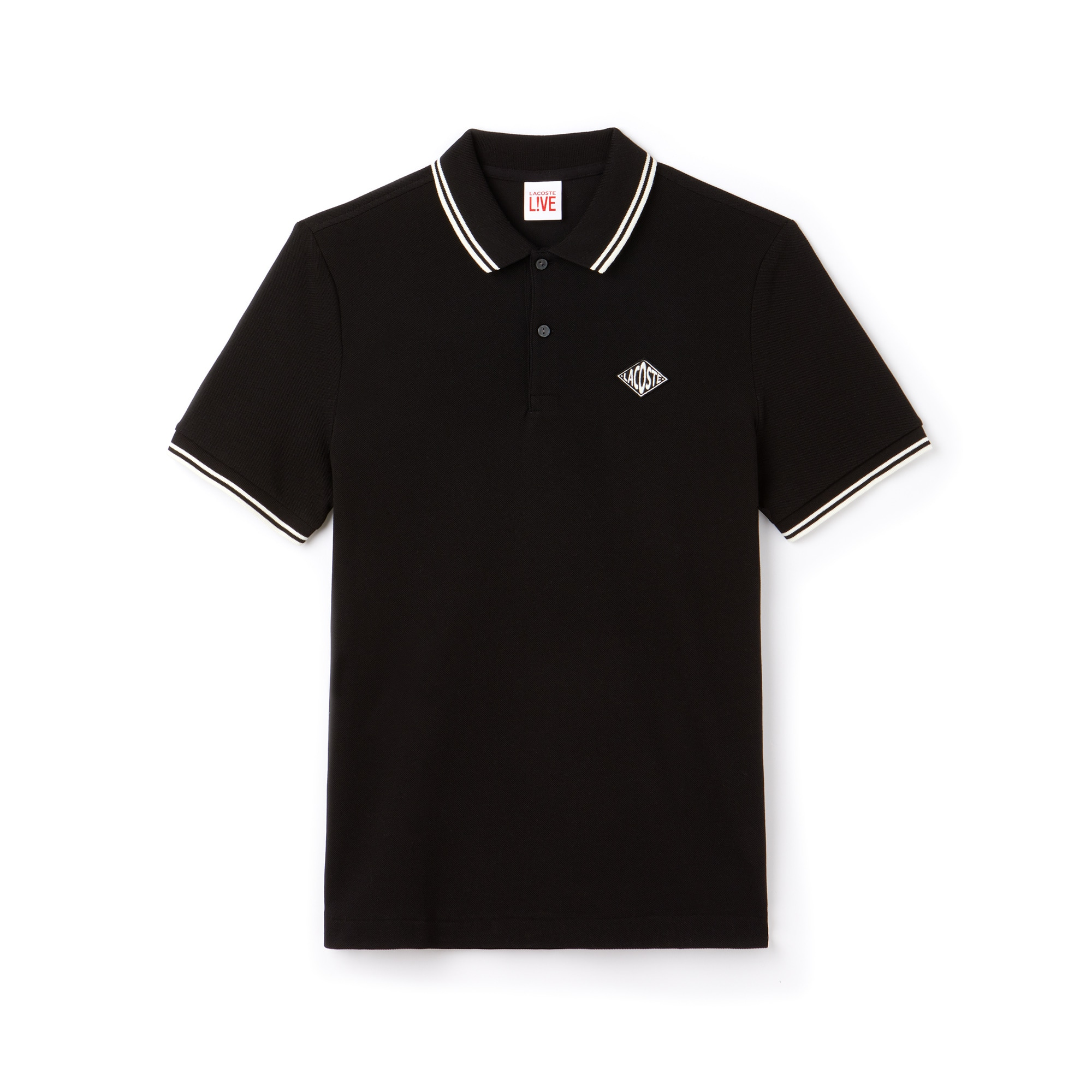 Men's LIVE Slim Fit Bands And Badge Cotton Petit Piqué Polo