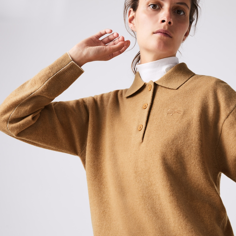 Women's Polo Collar Wool Sweater