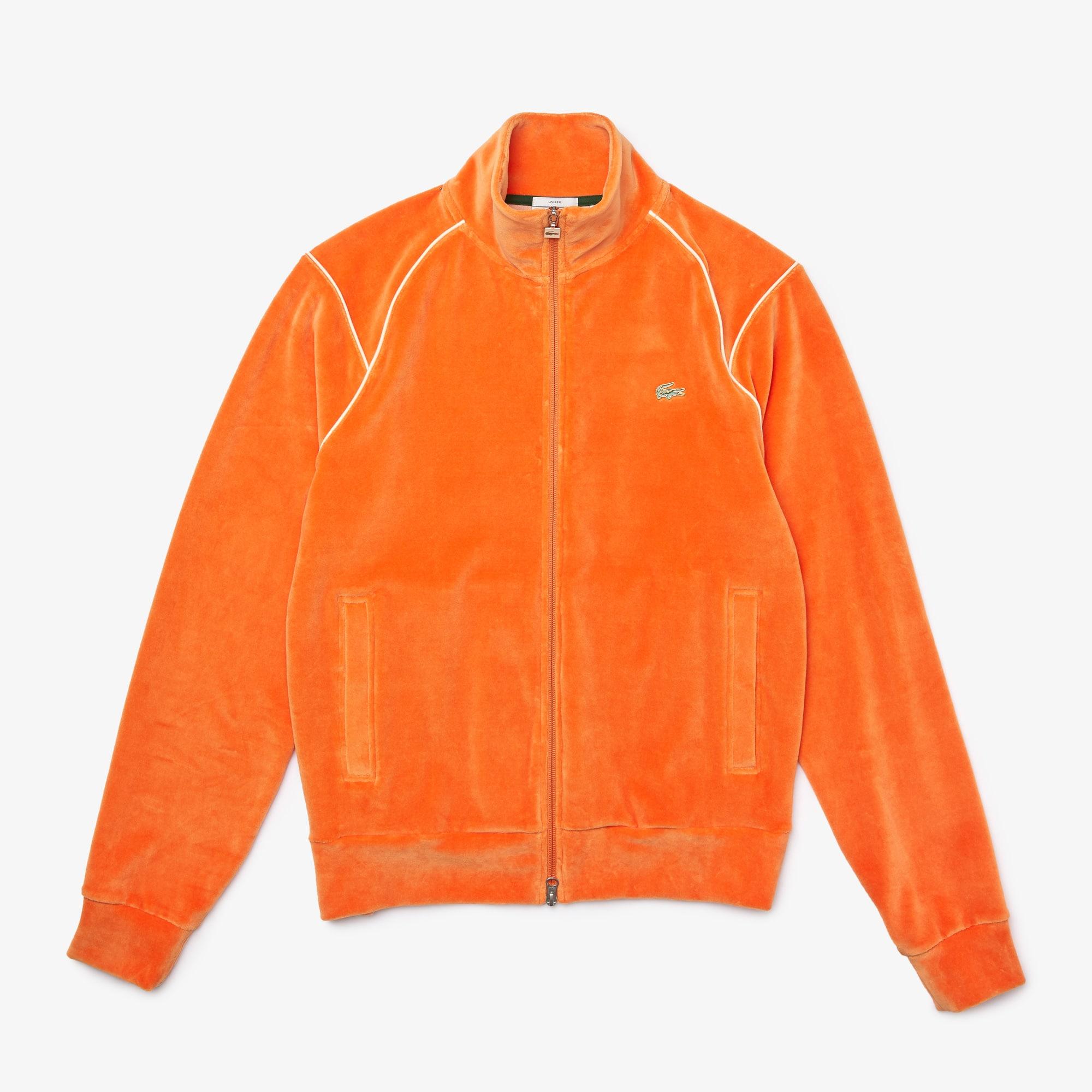 라코스테 라이브 남녀공용 집업 벨벳 맨투맨 Lacoste Unisex LIVE Zippered Velvet Sweatshirt,Orange TV1
