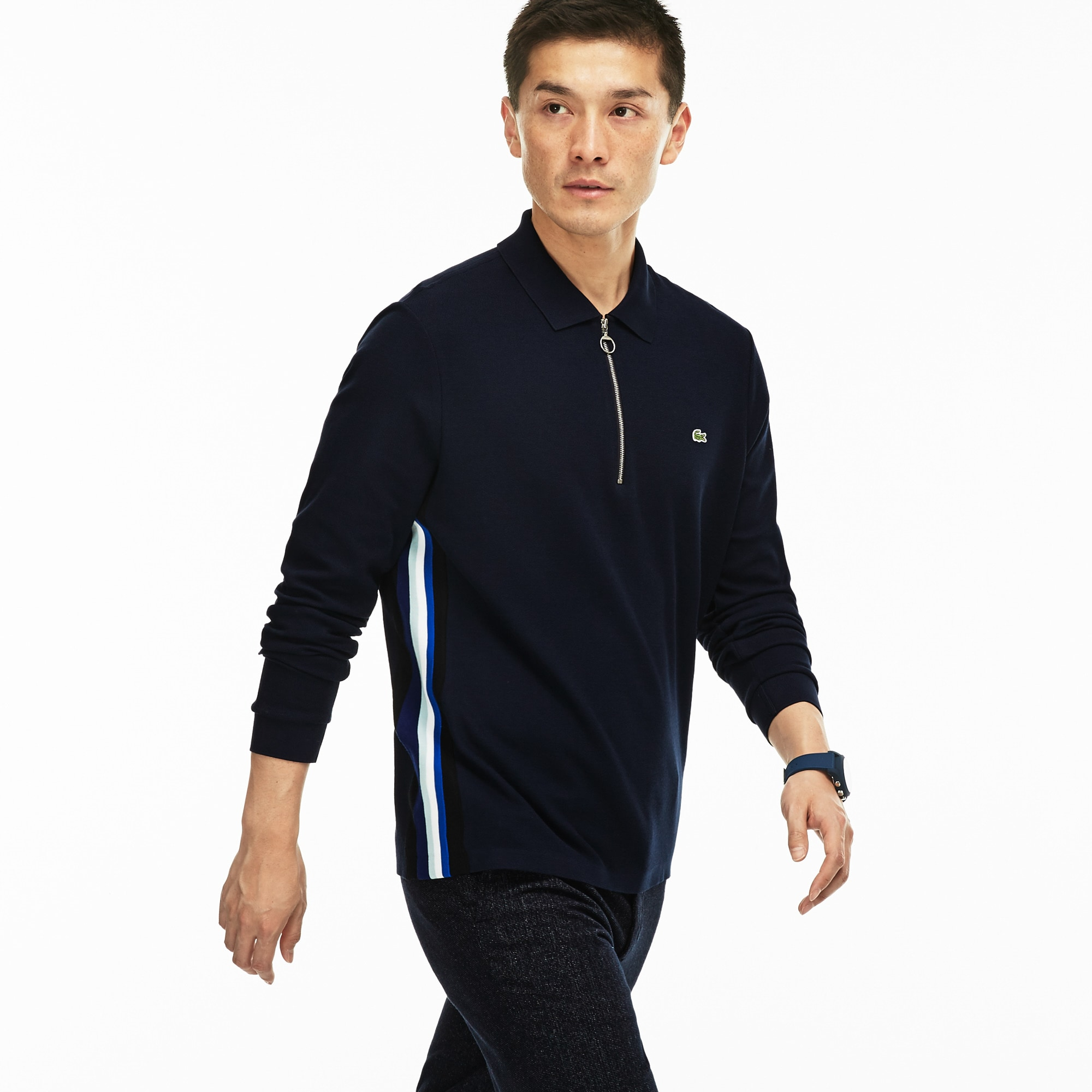 Men's  Regular Fit Zip Neck Jersey Polo