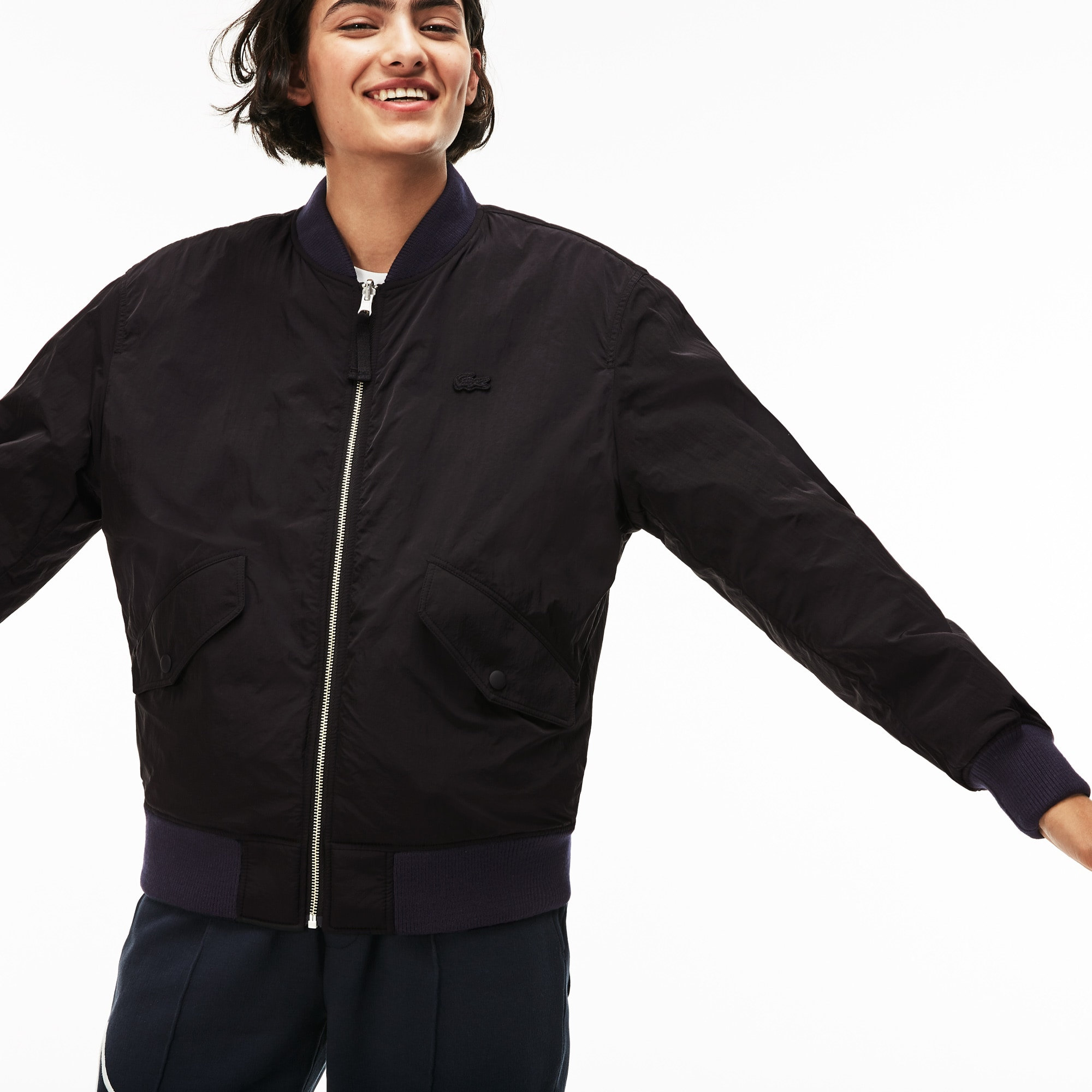 129f20b582 Unisex LIVE Reversible Nylon And Fleece Bomber Jacket | LACOSTE