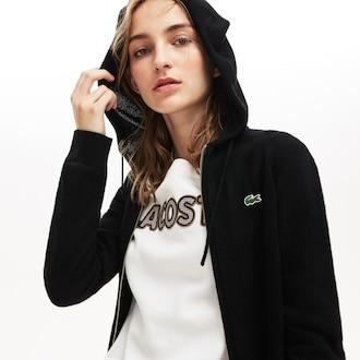 라코스테 우먼 스포츠 테니스 캐시미어 짚업 후드 Lacoste Womens SPORT Tennis Cashmere Jersey Zip Sweatshirt