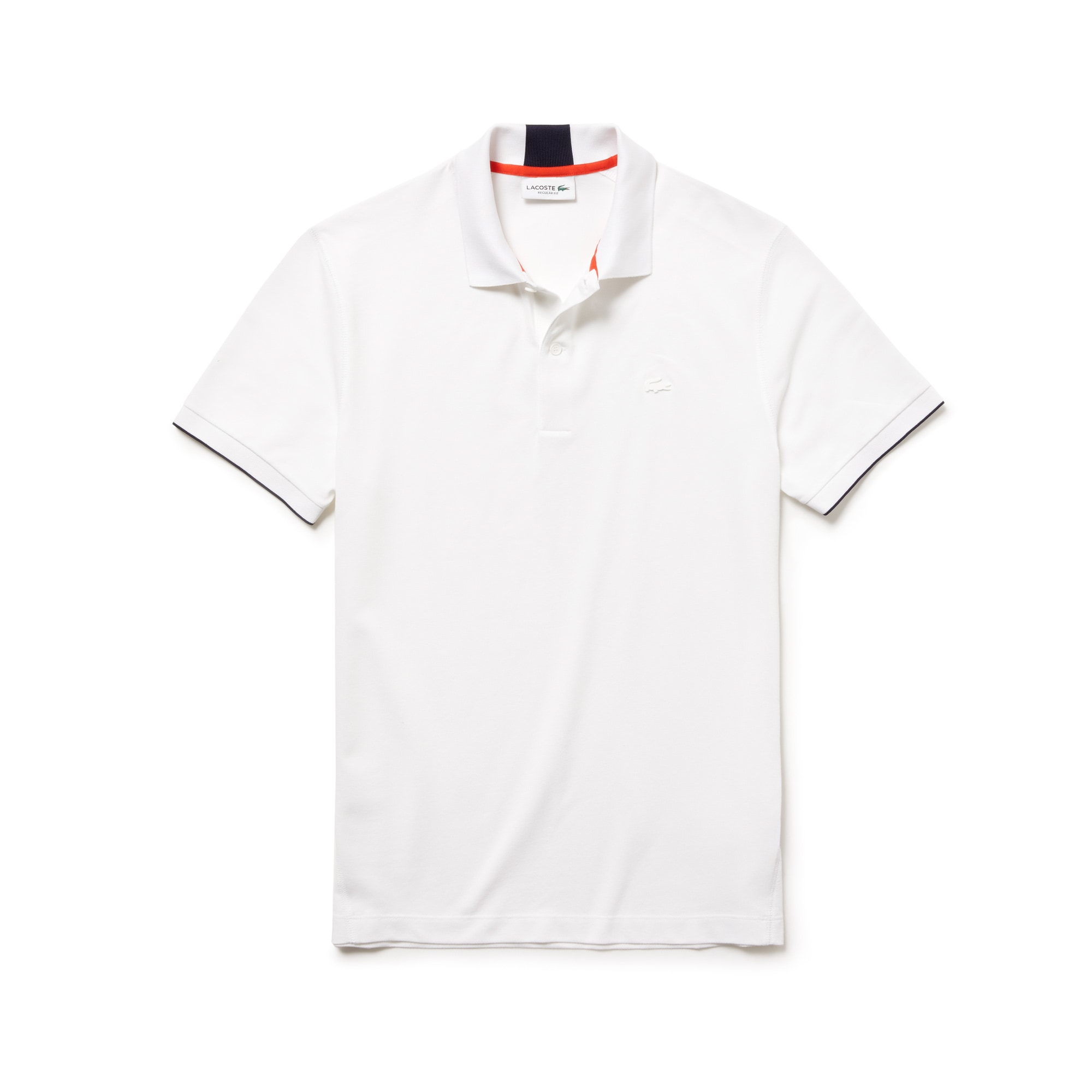 라코스테 Lacoste Mens Motion Regular Fit Technical Petit Pique Polo,white/navy blue-pomegrena