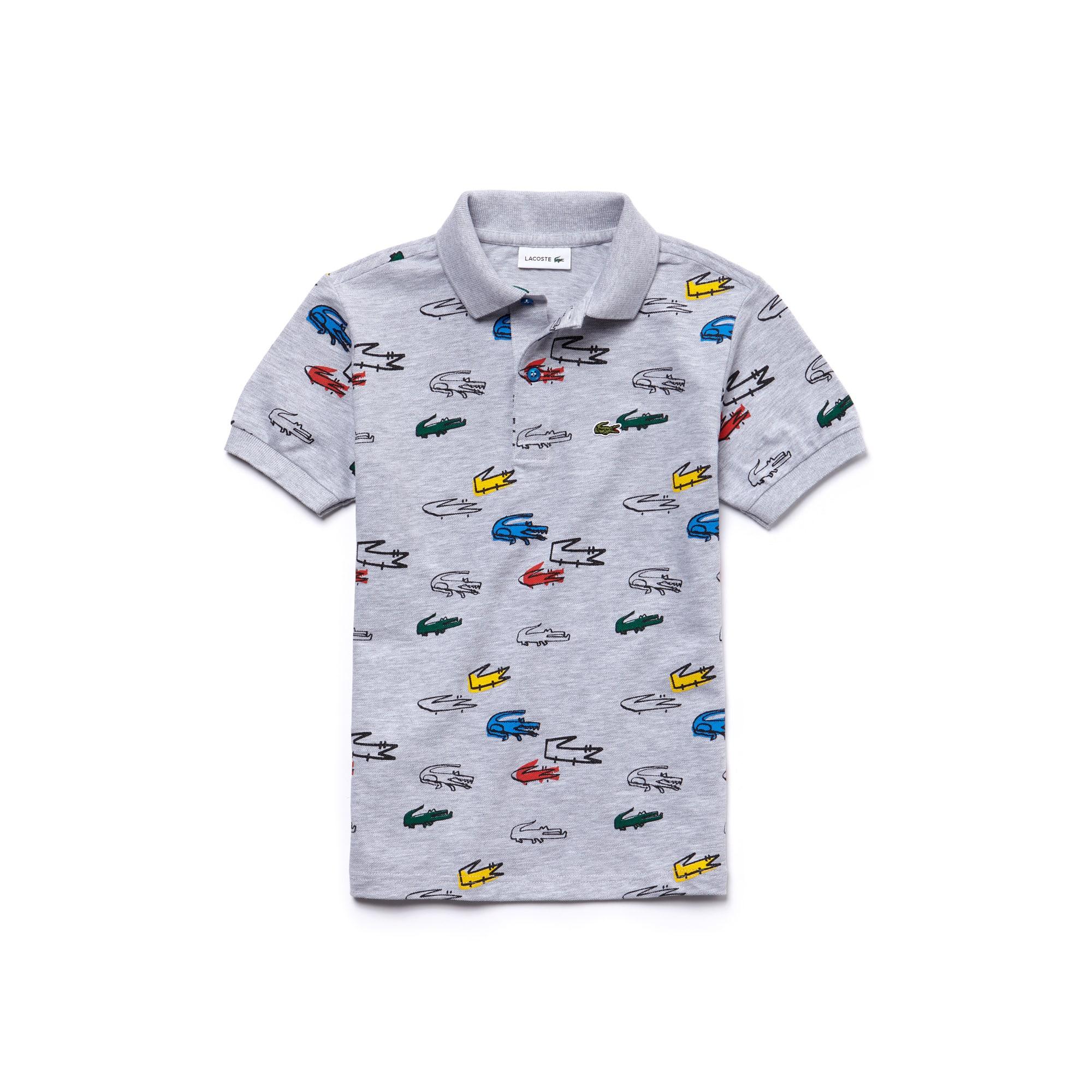 Kids' Classic Fit Crocodile Print Cotton Petit Piqué Polo Shirt