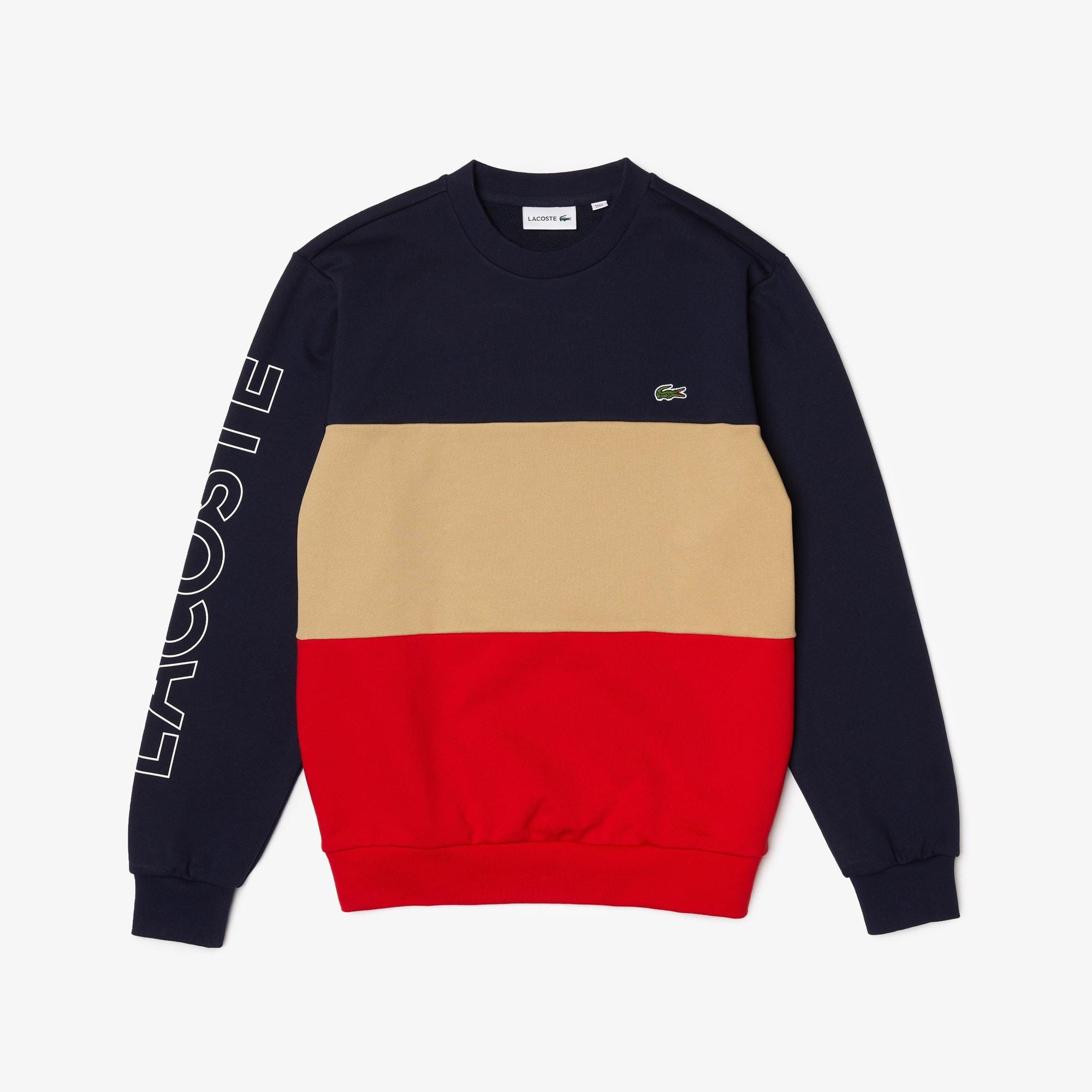 라코스테 맨 컬러블록 맨투맨 Lacoste Men's Crew Neck Lettered Colorblock Fleece Sweatshirt