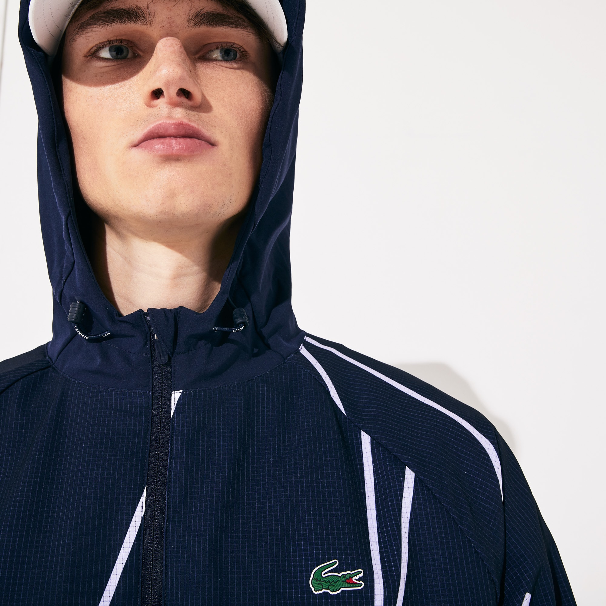 라코스테 스포츠 '프랑스 오픈' 후드 집업 Lacoste Mens SPORT French Open Hooded Zip Jacket,Navy Blue / White
