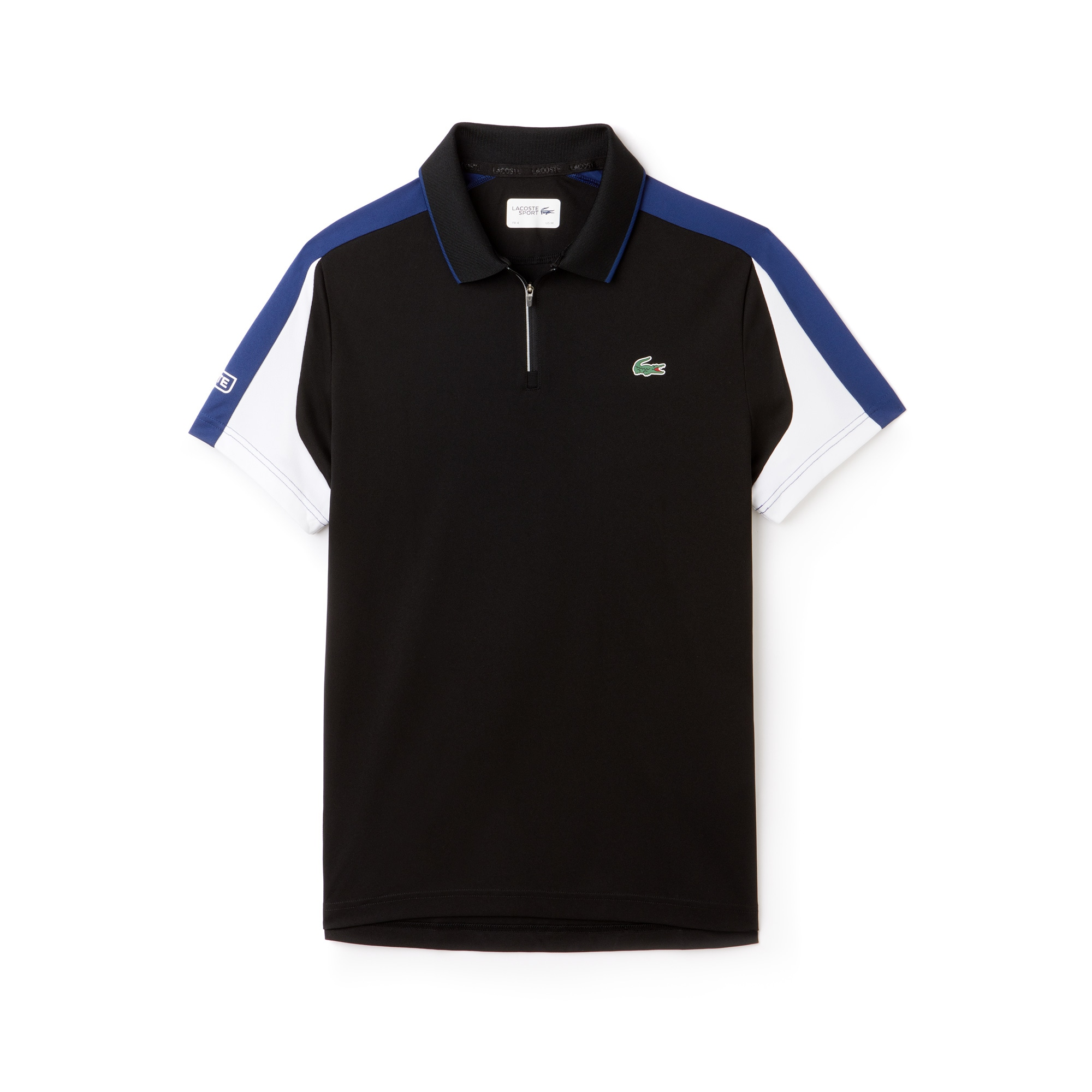 라코스테 Lacoste Mens SPORT Zip Neck Contrast Bands Pique Tennis Polo,black/inkwell-white-armou