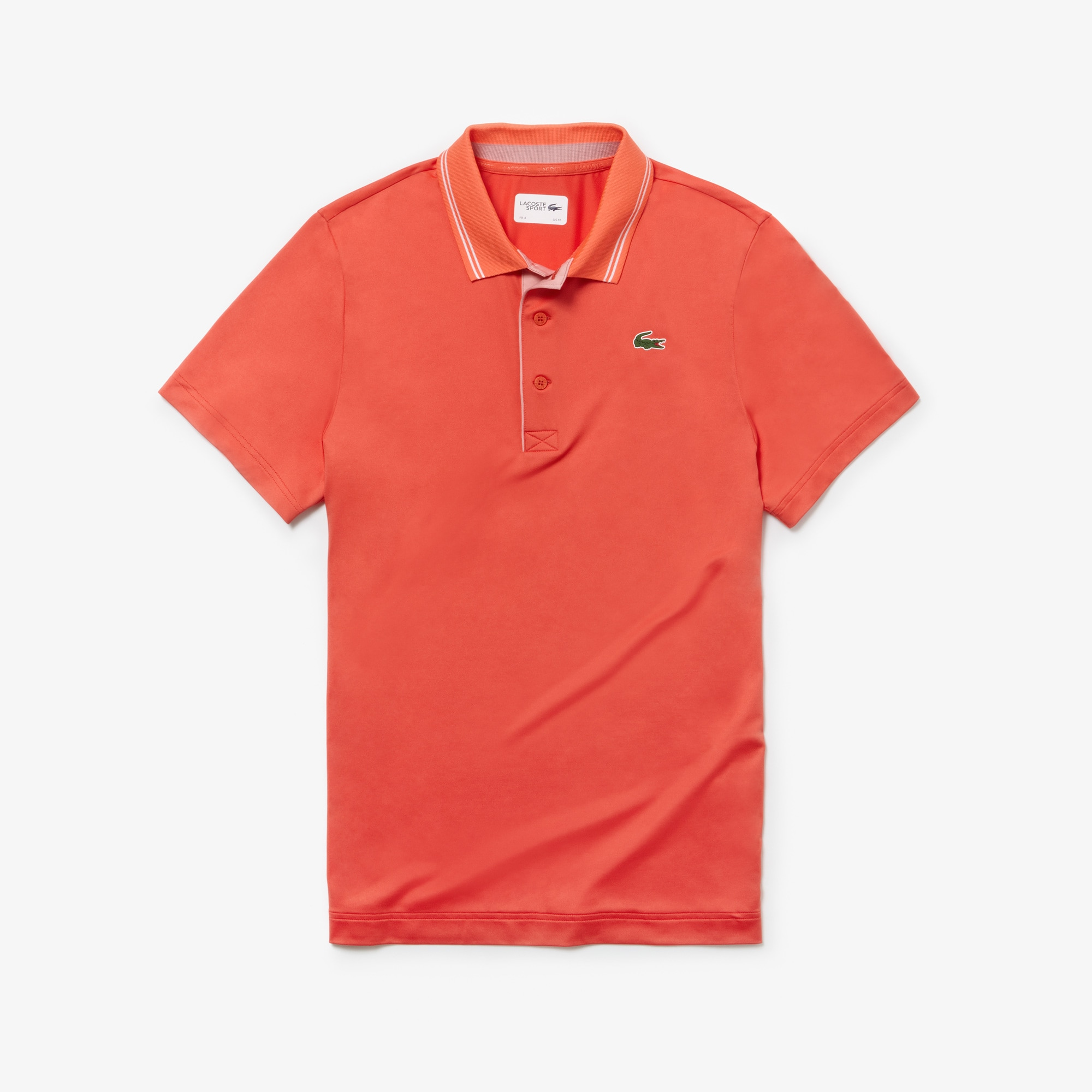 4149e71f Lacoste Men's Sport Lettering Stretch Technical Jersey Golf Polo Shirt In  Red / White / Pink