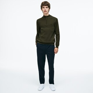 Men's Motion Stand-Up Collar Ribbed Wool Sweater