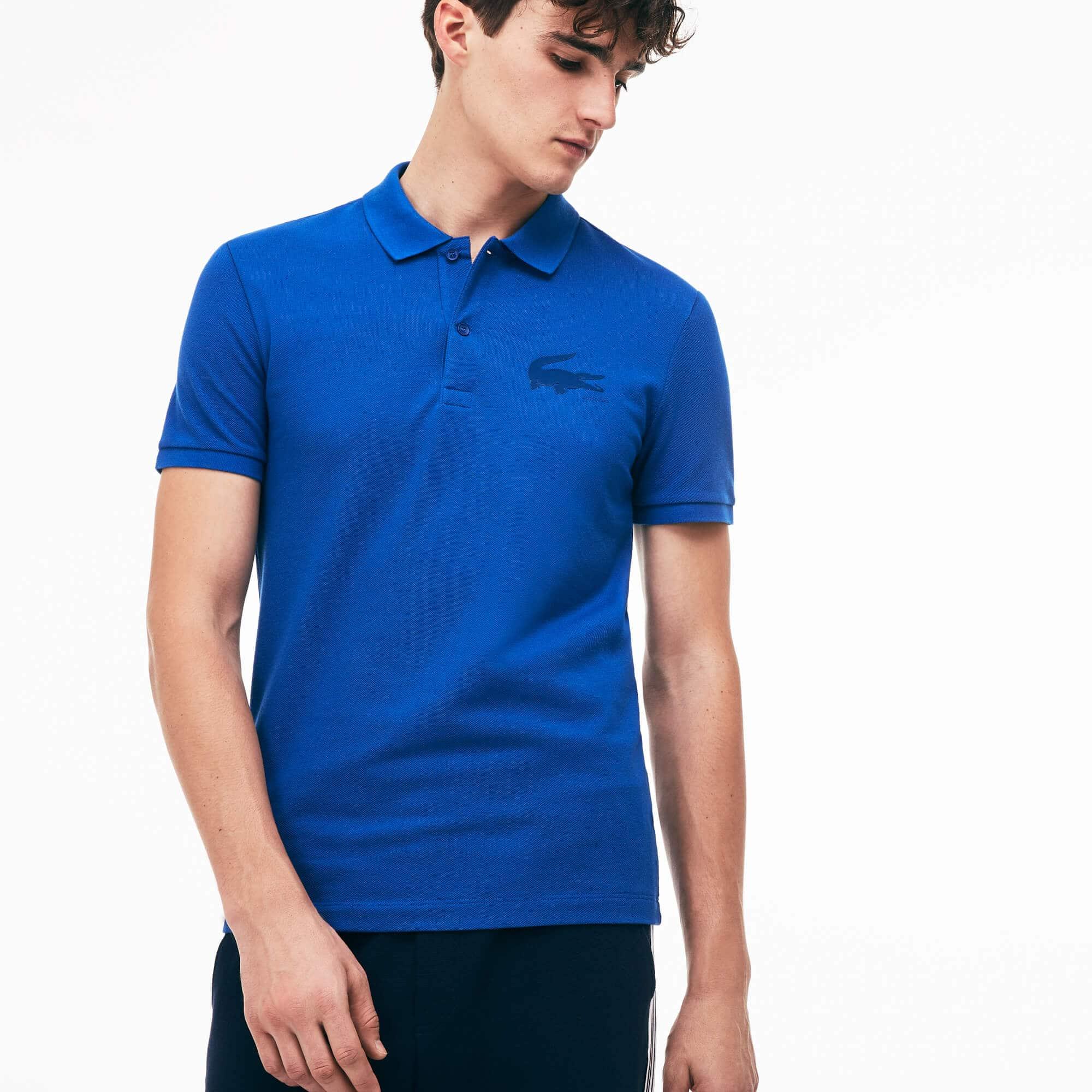 Men's Slim Fit Crocodile Logo Piqué Polo
