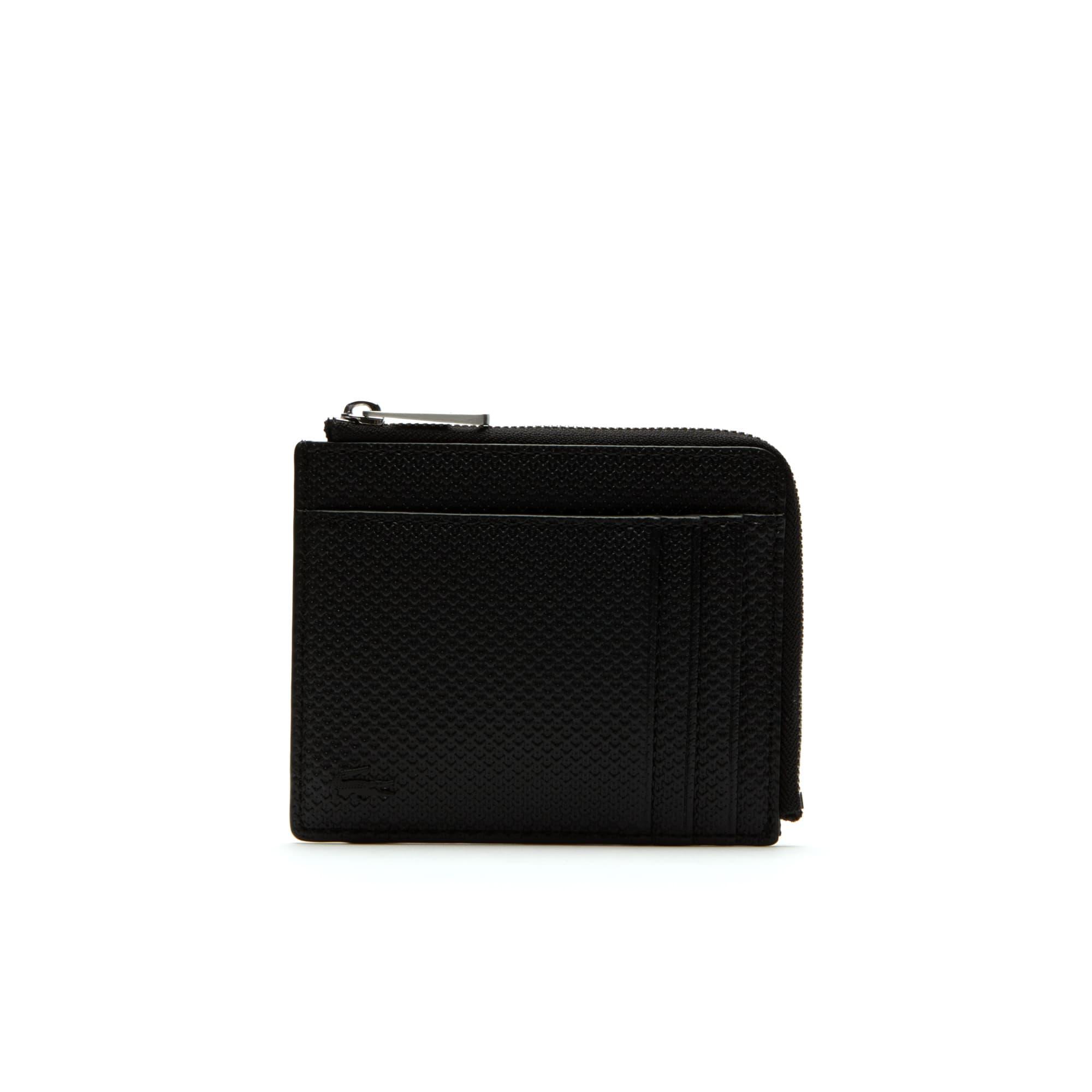 mens chantaco zippered matte piqu leather card holder - Leather Card Holder Wallet