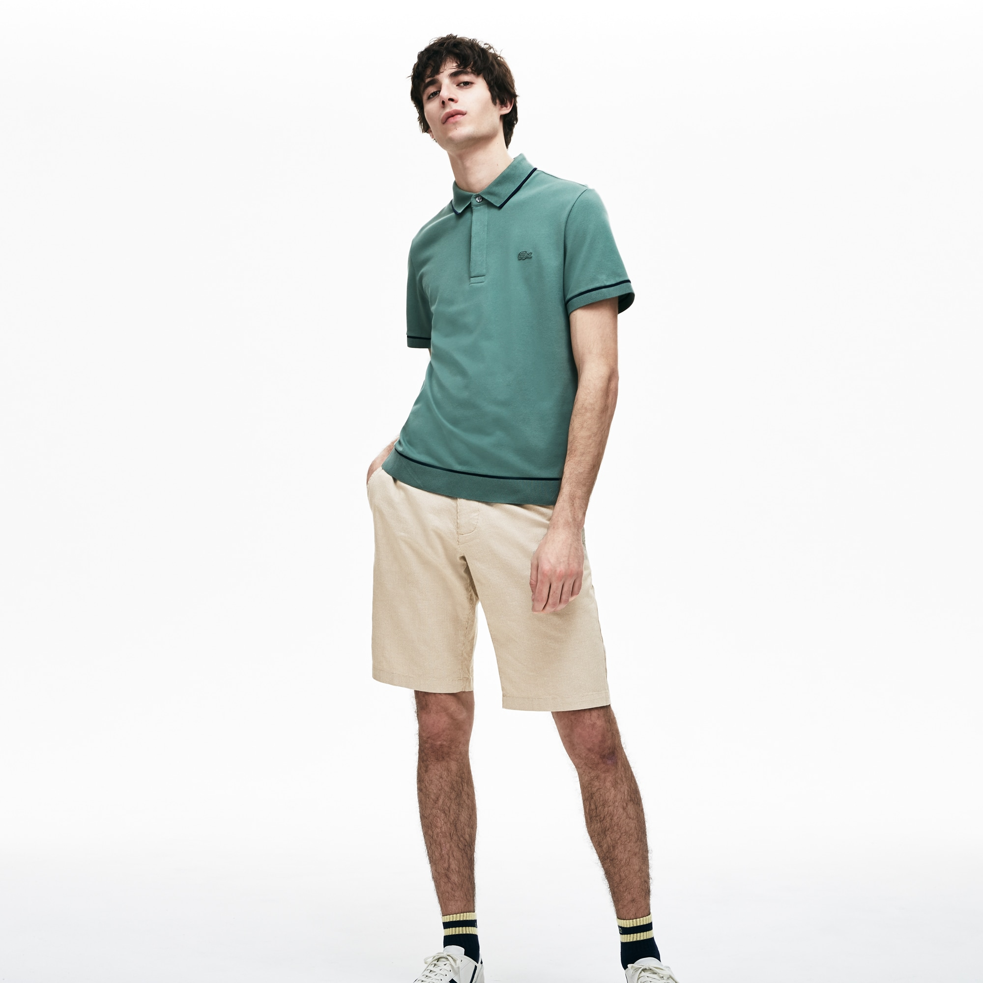 1c68957c03 Men's Slim Fit Mini Check Cotton And Linen Bermuda Shorts | LACOSTE