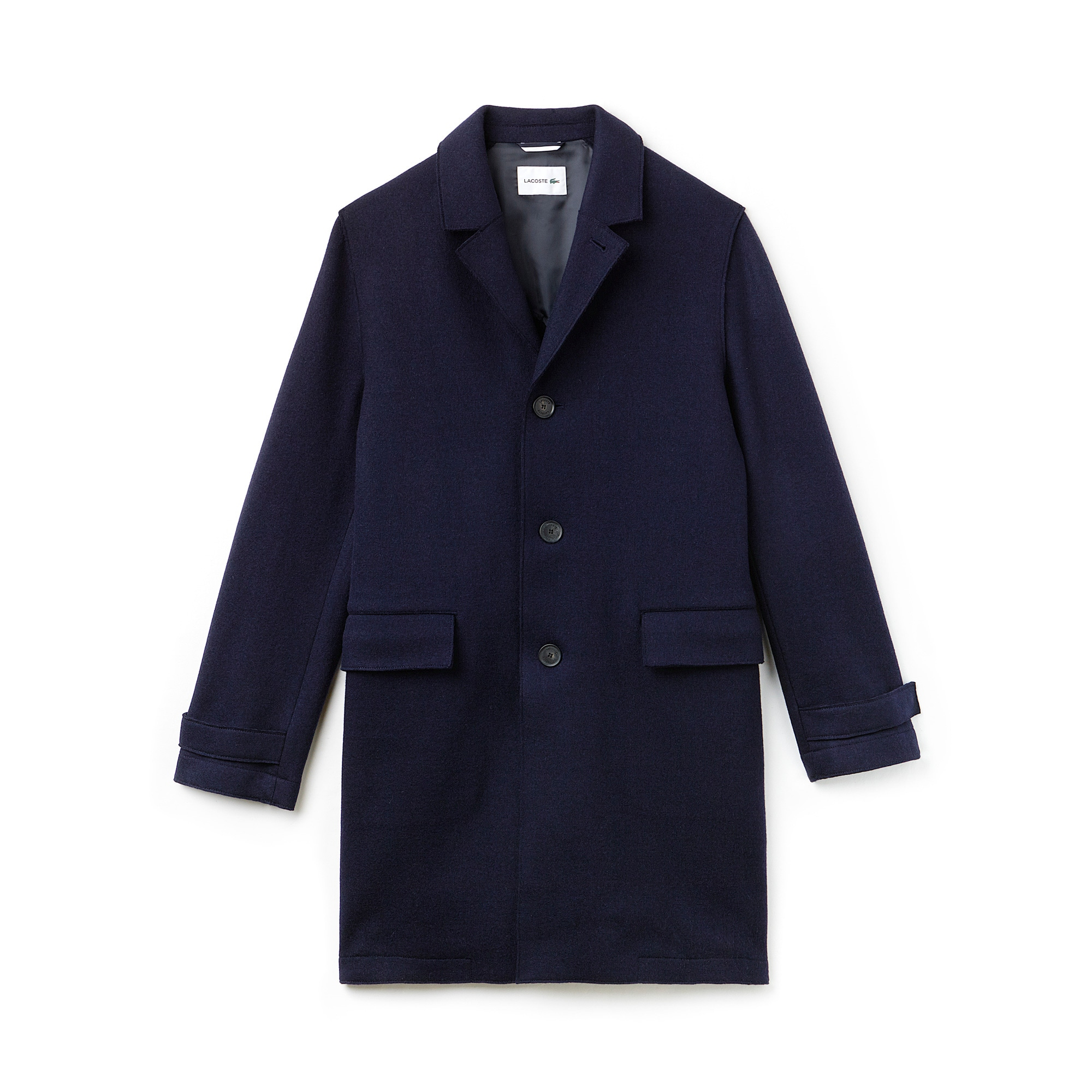 Men's Buttoned Wool Broadcloth Coat