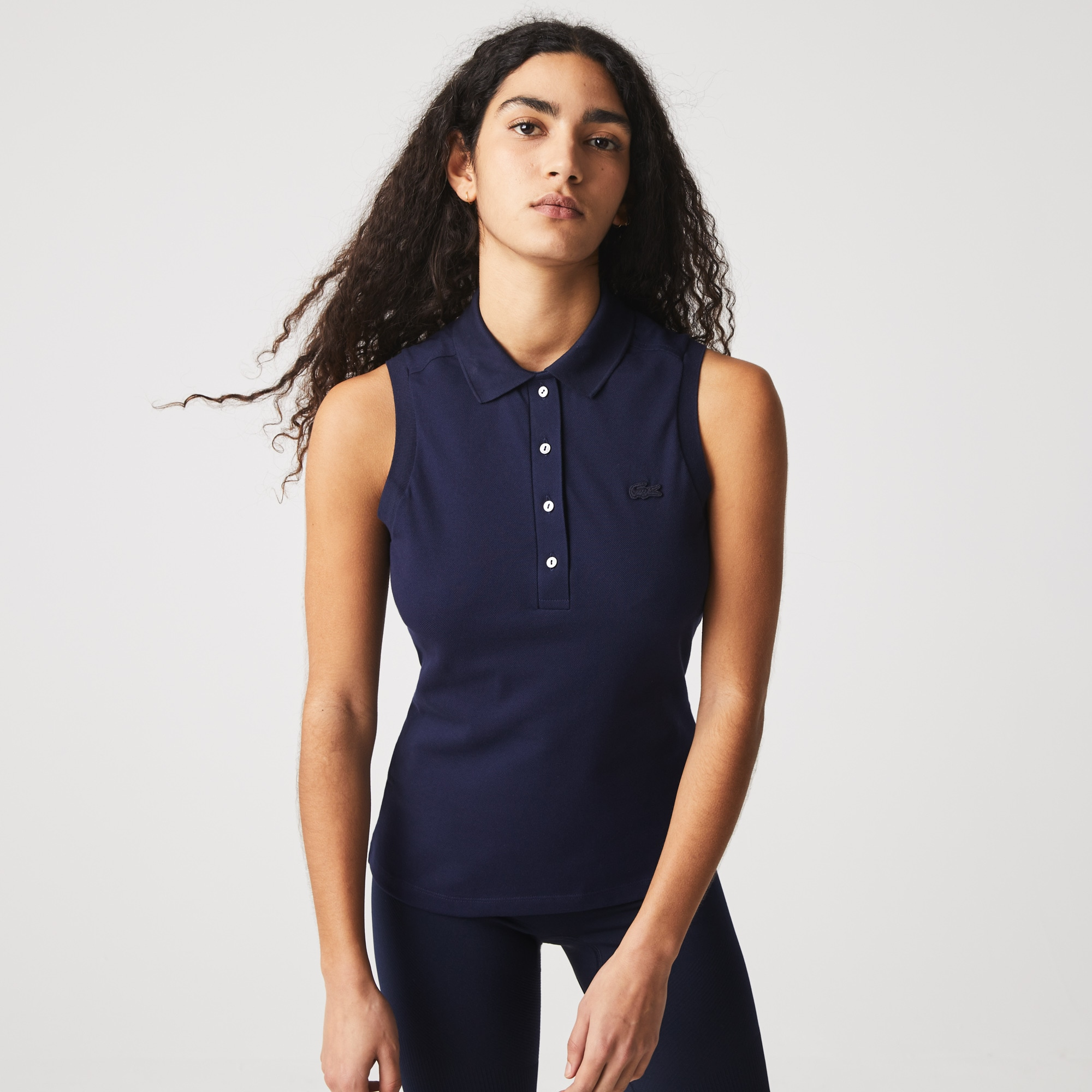 Women's Sleeveless Cotton Piqué Polo