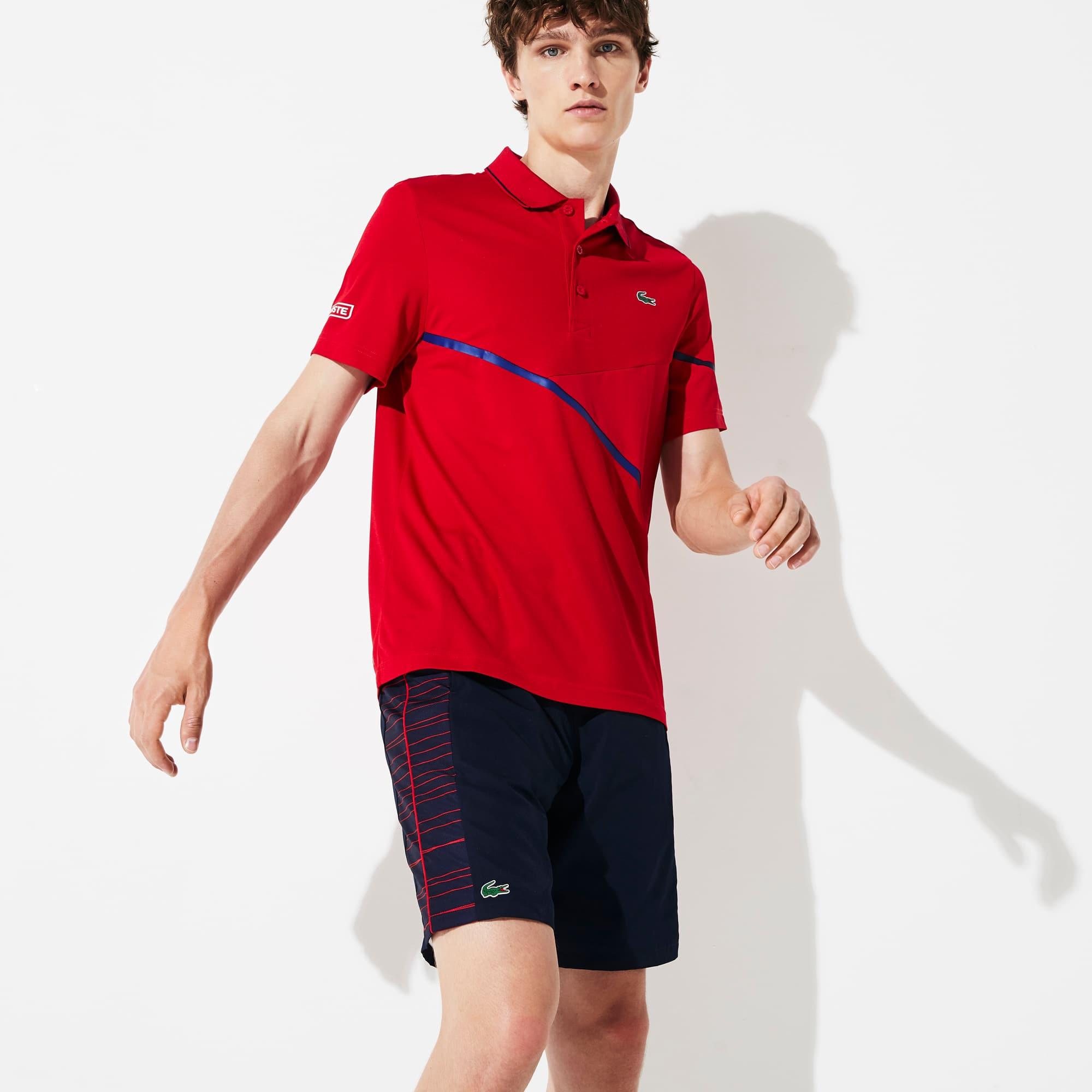 라코스테 Lacoste Mens SPORT Mesh-Paneled Pique Tennis Polo,Red / Navy Blue - 2FV